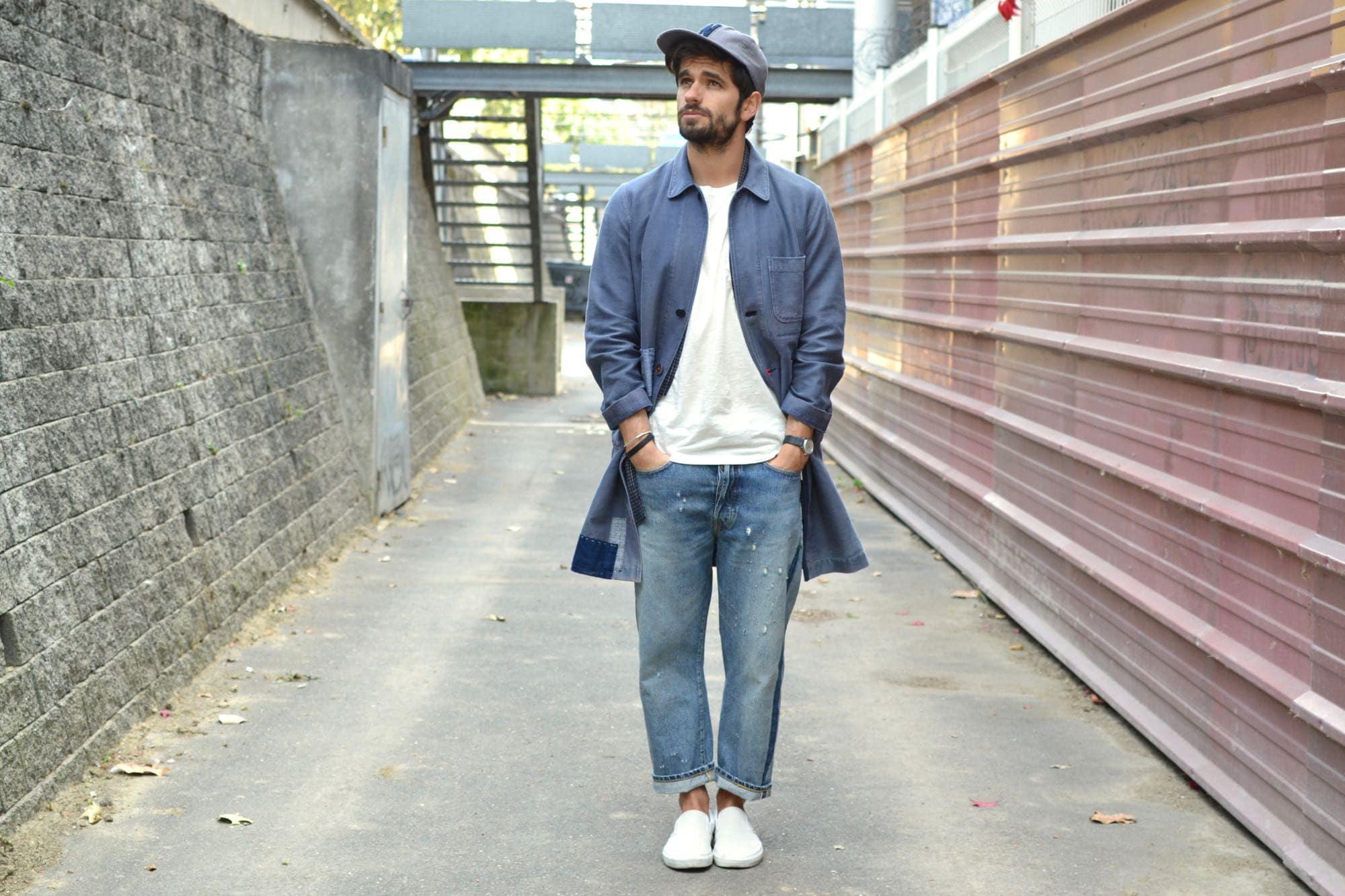style homme workwear japonais avec vêtement rapécié en patchwork boro japonais et broderie sashiko + coment porter une noragi vintage