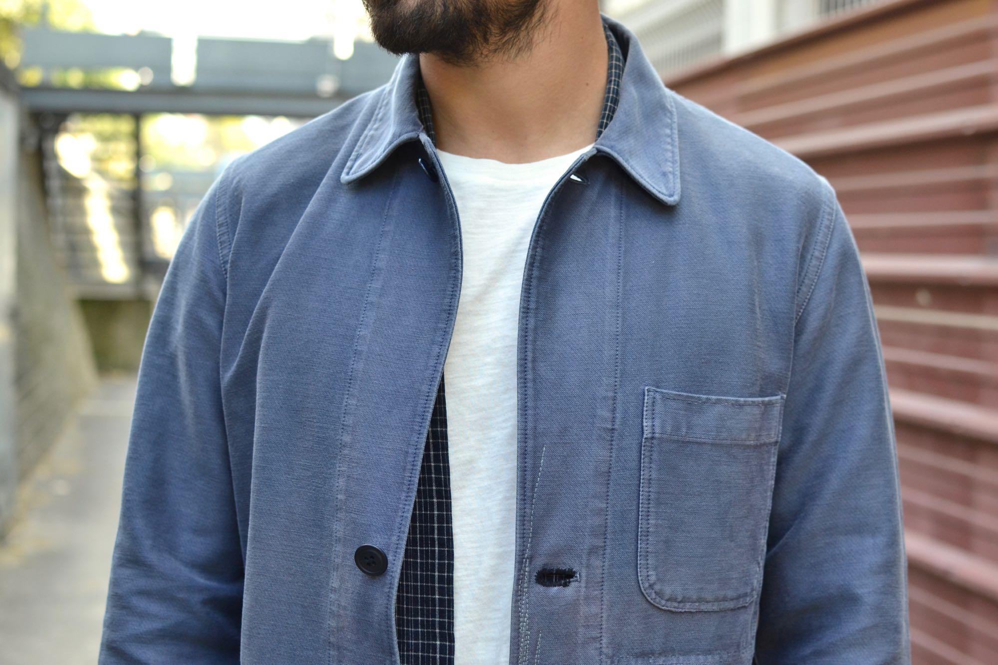 shop work coat de la marque japonaise blue blue japan en moleskin indigo délavé façon vintage