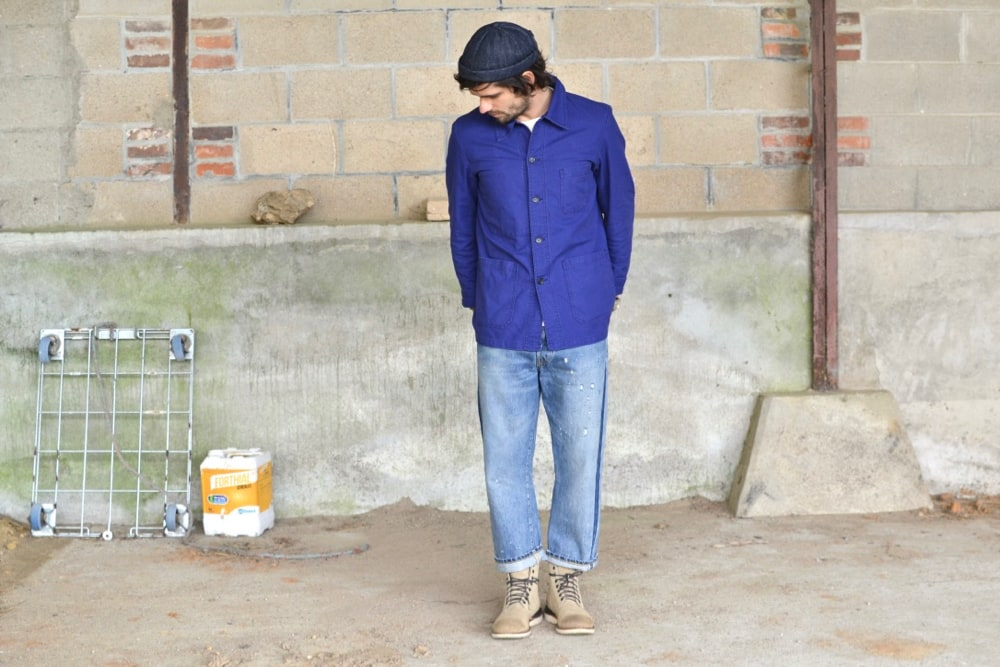 Vetra bleu de travail - Maison Cornichon tee shirt - Levi's Vintage Clothing 501 washed denim - Visvim virgil Cantor-Folk Boots