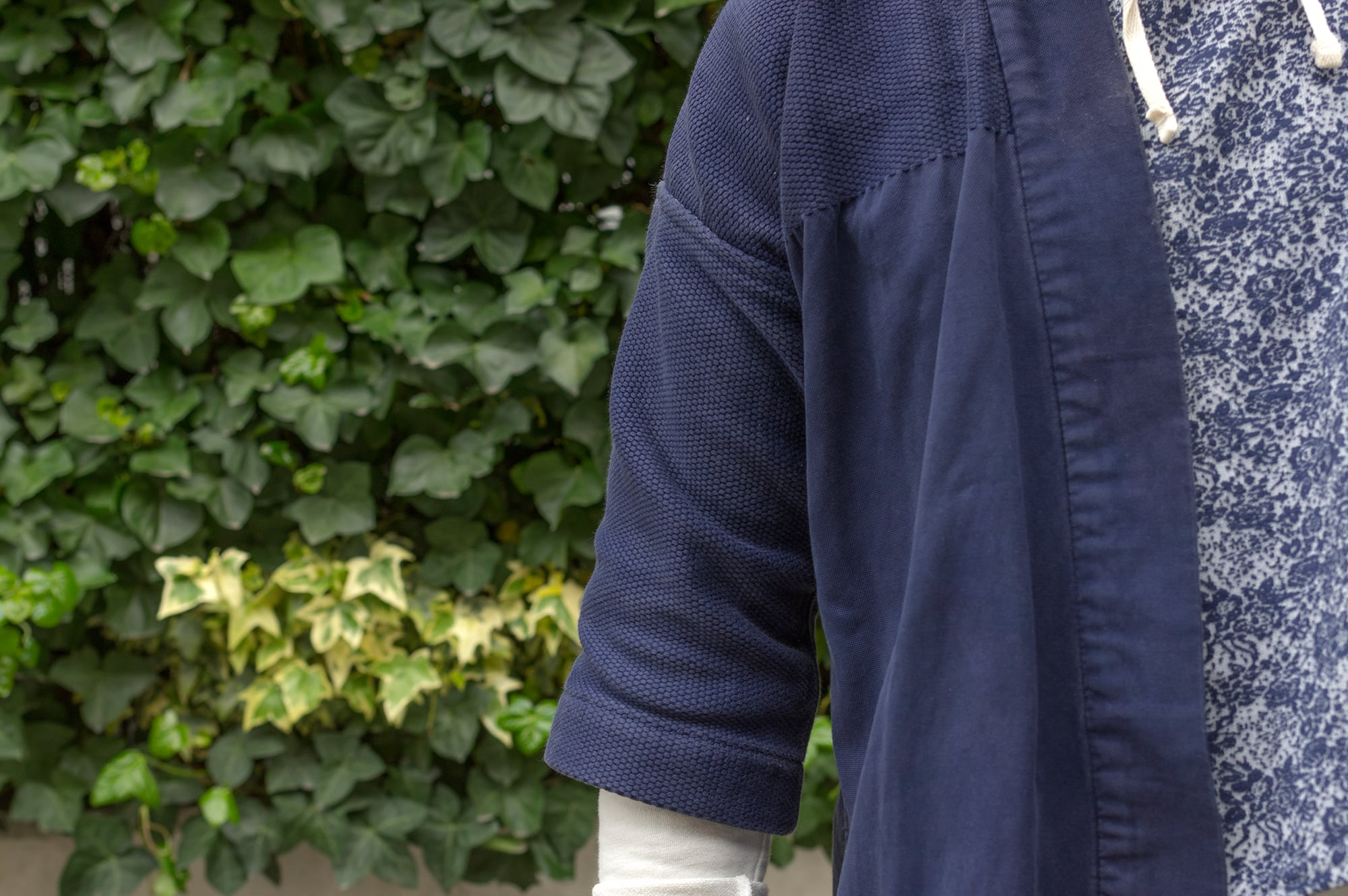 Visvim Sanjuro Kimono noragi and Engineered Garments hooded interliner in street heritage outfit