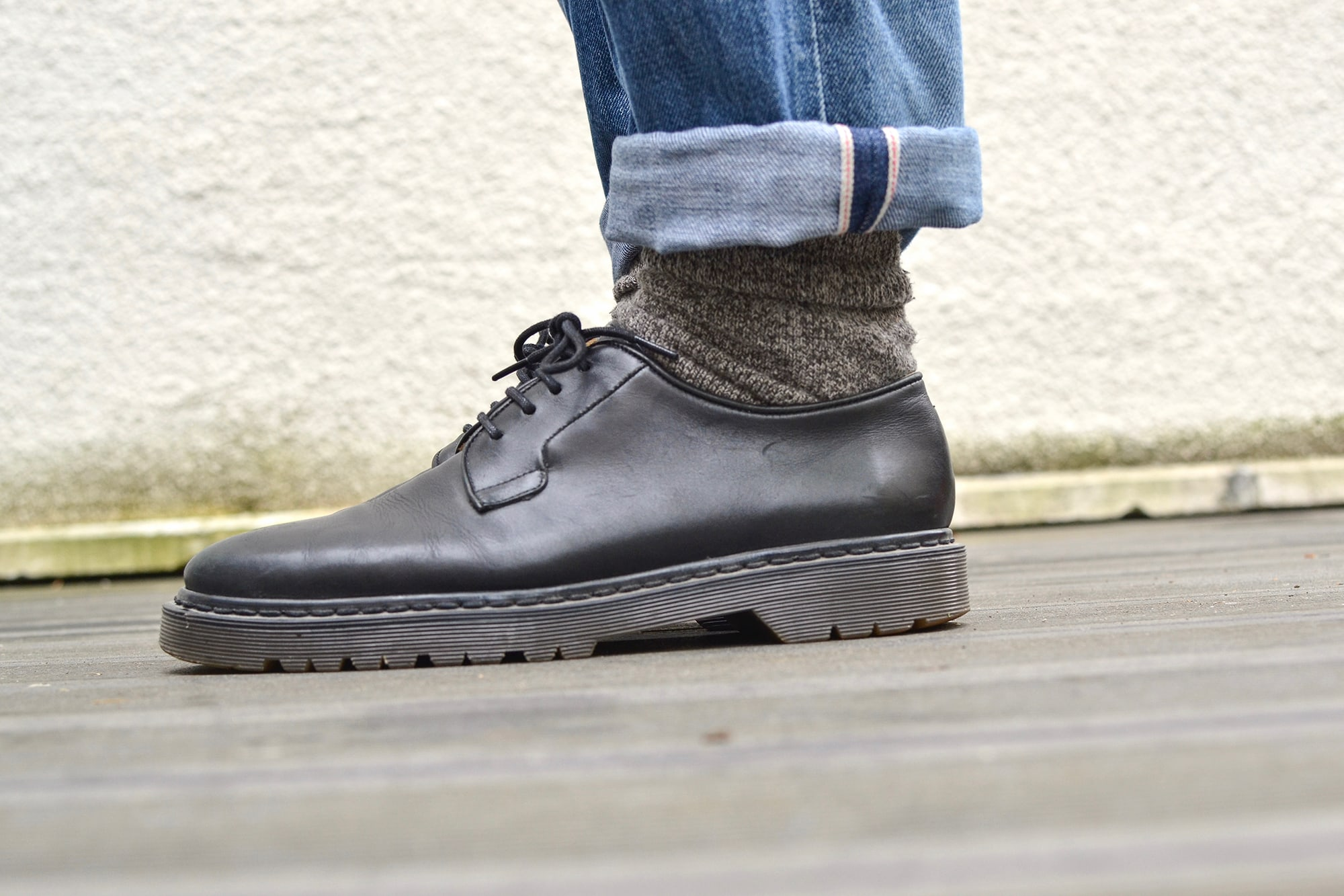 A.P.C. apc butler new standard jeans denim & dr martens like shoes