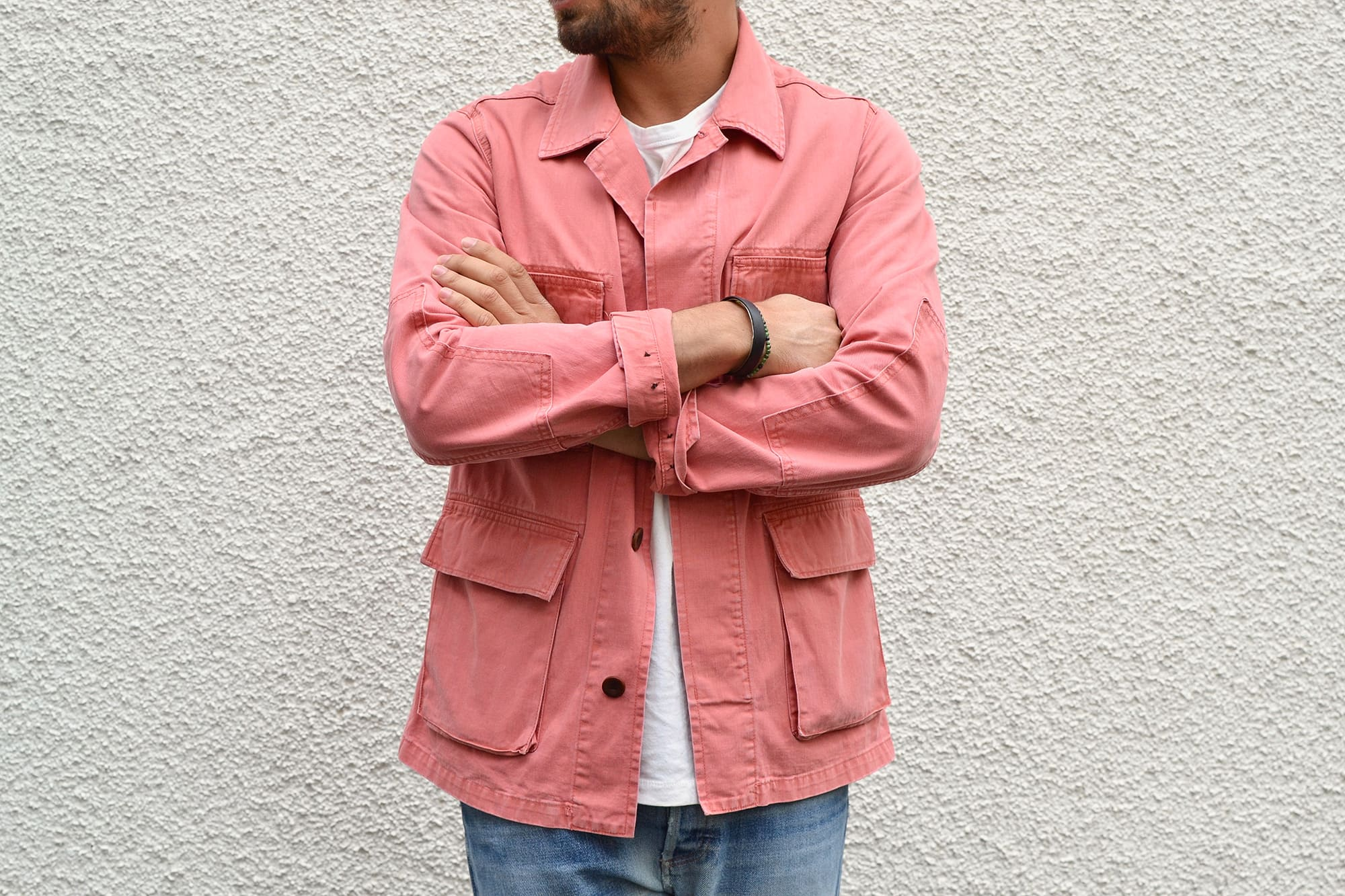 Visvim kilgore jacket salmon pink SS 2012 and white tee with apc butler jeans
