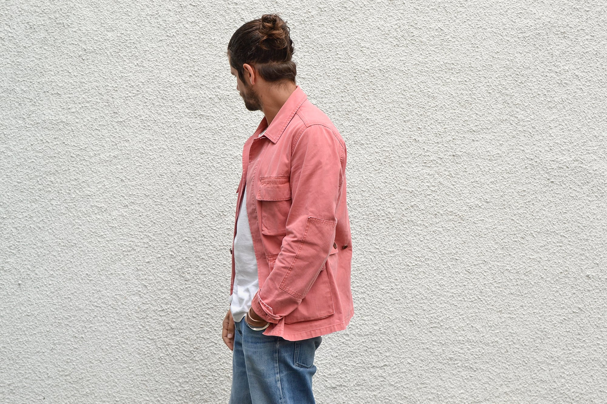 Visvim kilgore jacket salon pink SS 2012 and white tee with apc butler jeans