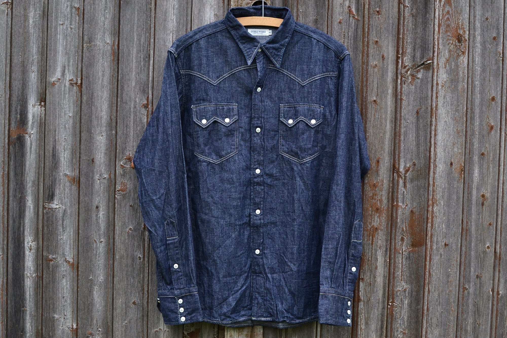 Dubble Works raw chambray western shirt selvedge hairy denim - 1