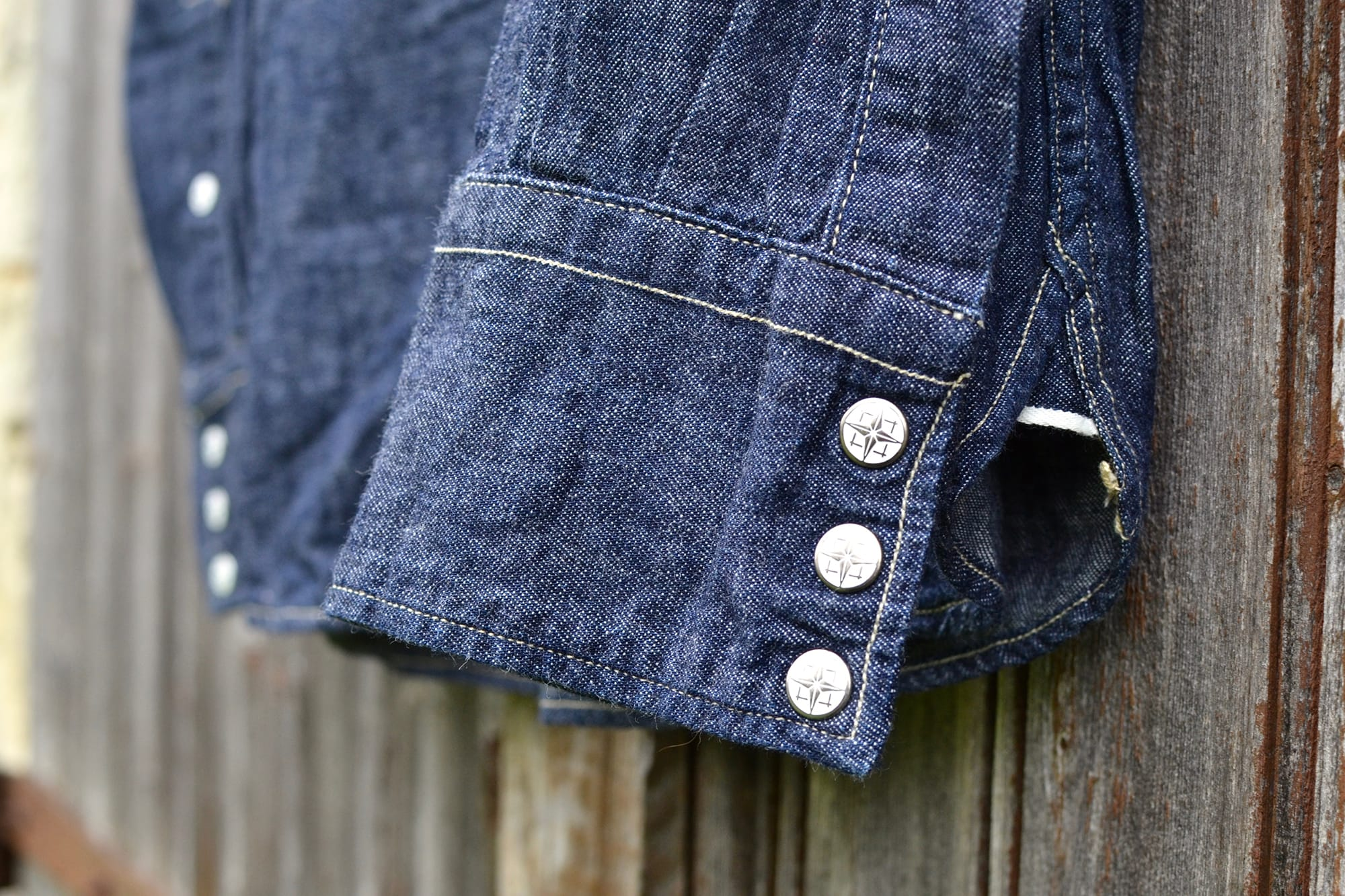 Dubble Works raw chambray western shirt selvedge hairy denim - 1