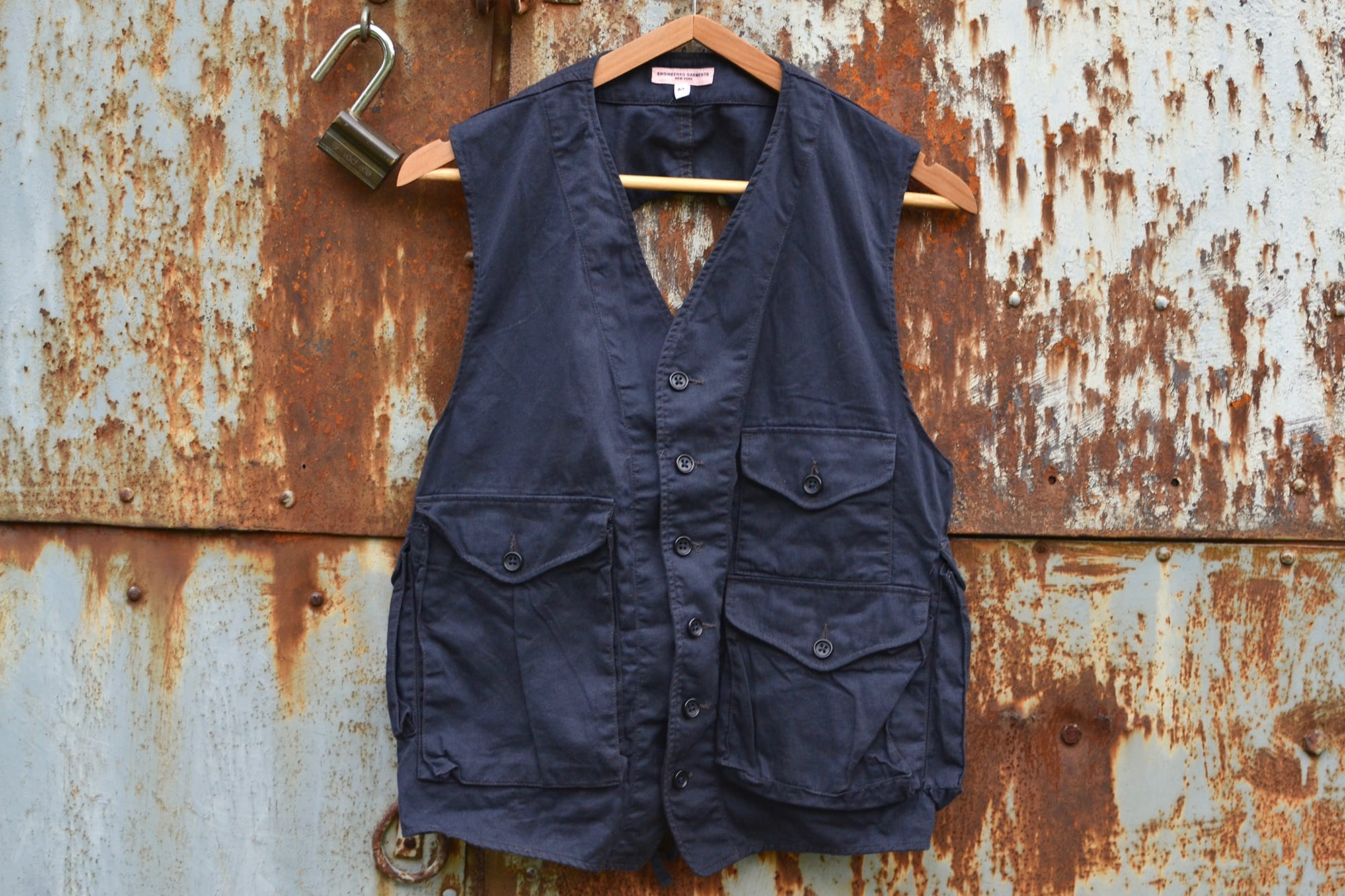 Engineered Garments laces gilet - navy color - 1