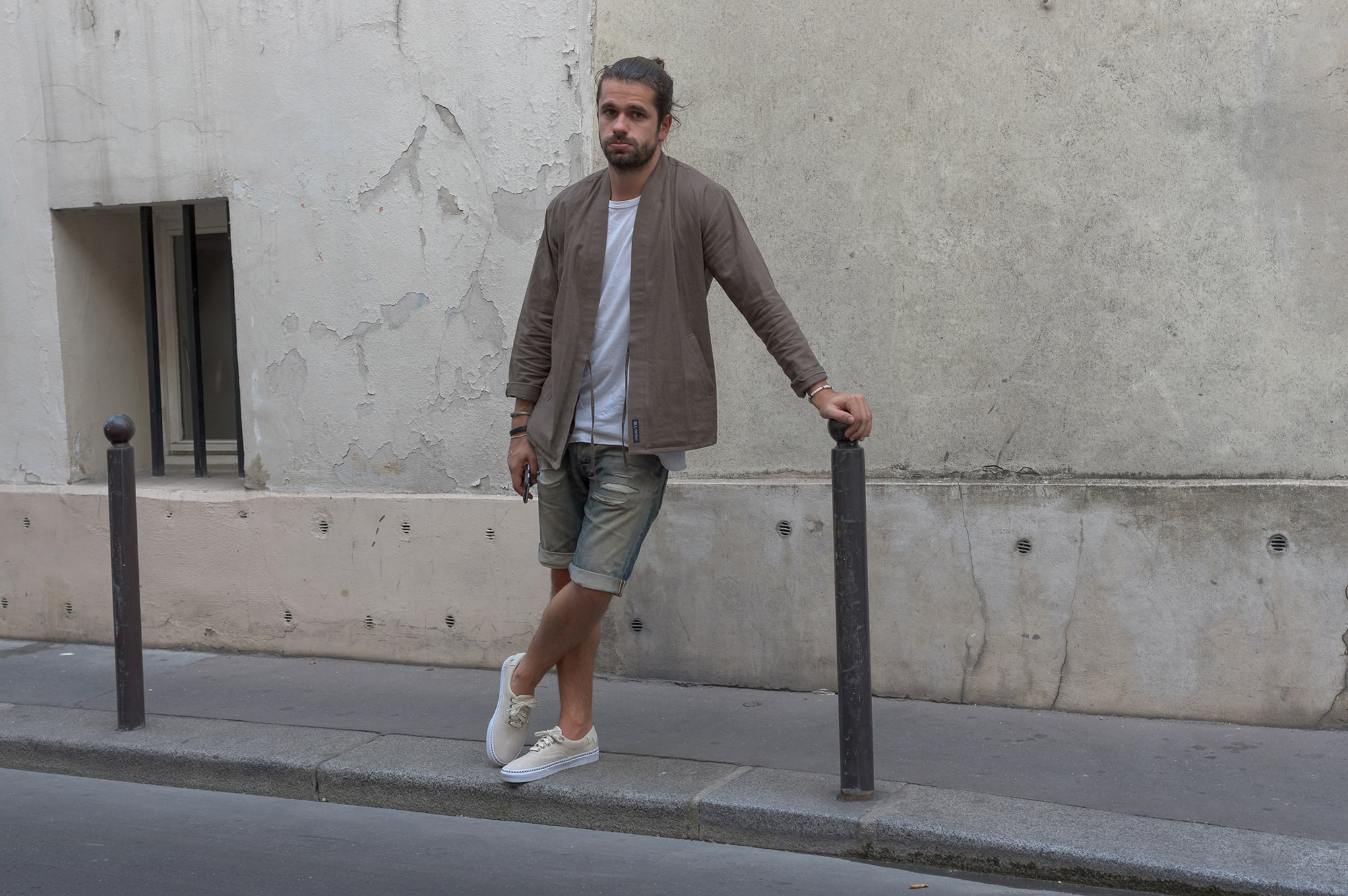 shuren projects noragi worn in visvim style with vans era 59 native dx sneakers