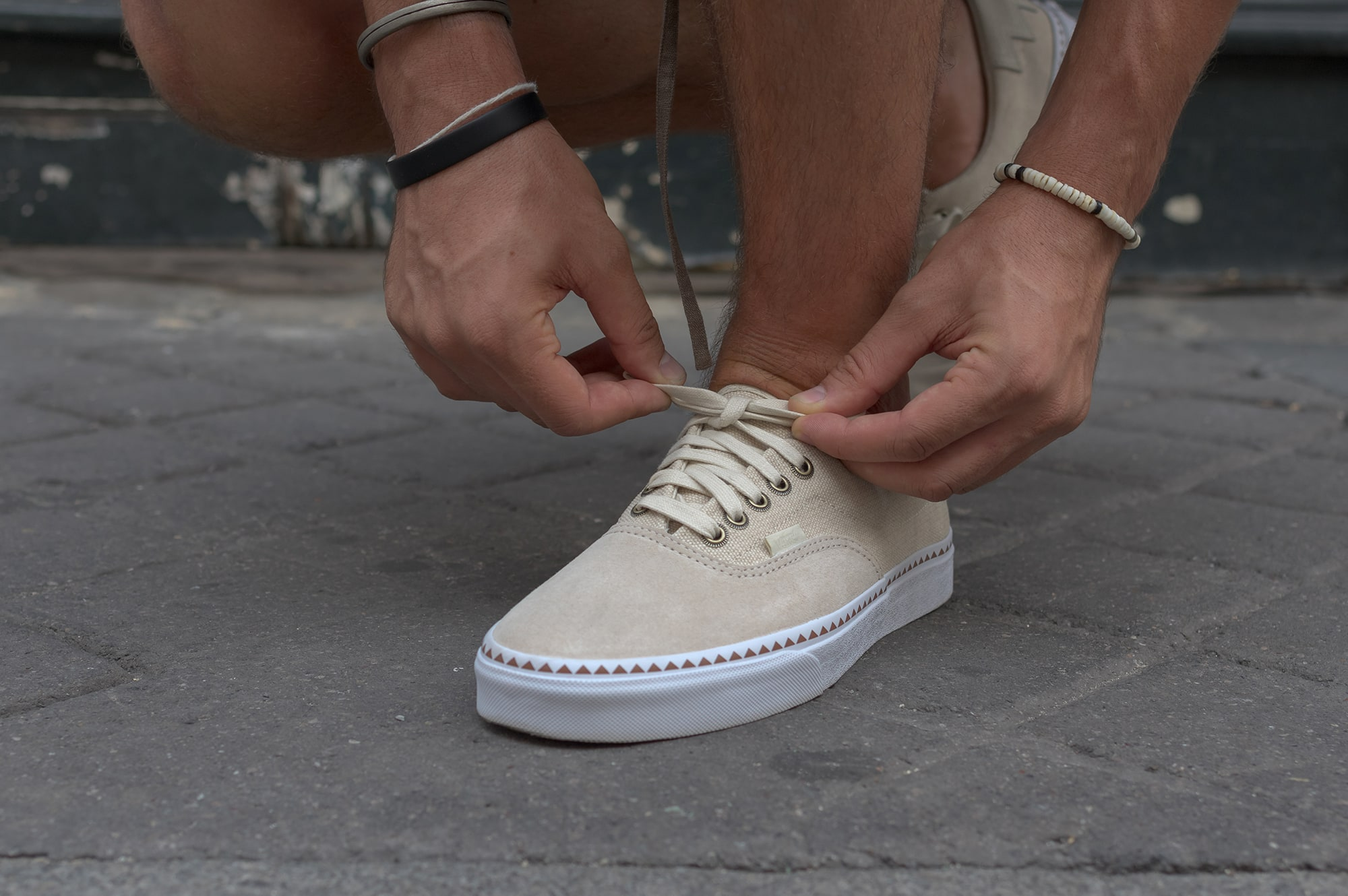 Noragi shuren projects in street heritage style with vans era native. sneakers and denim destroyed shorts
