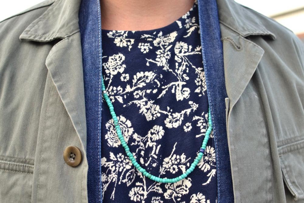 Béton Ciré miki hat - Visvim Kilgore damged olive jack & Lhamo one wash shirt - Jinji collabs bracelet - blue blue japan necklace - APC bracelet