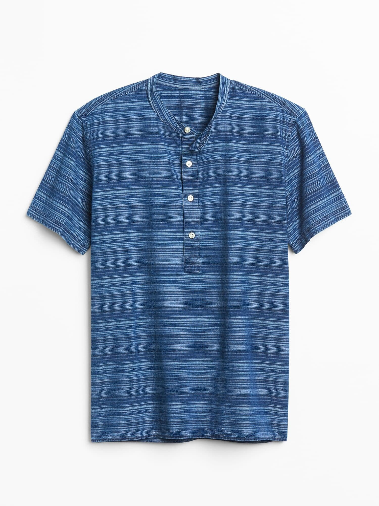 Short Sleeve Half-Button Shirt in Chambray