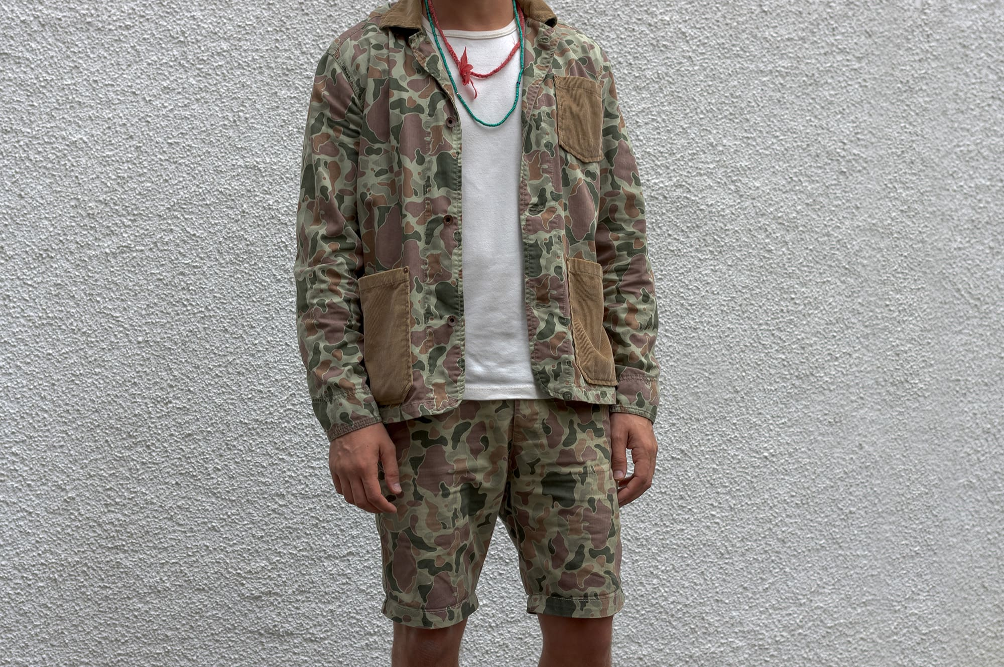 workwear oufit from edwin denim brand with a camo pattern and visvim virgil boots