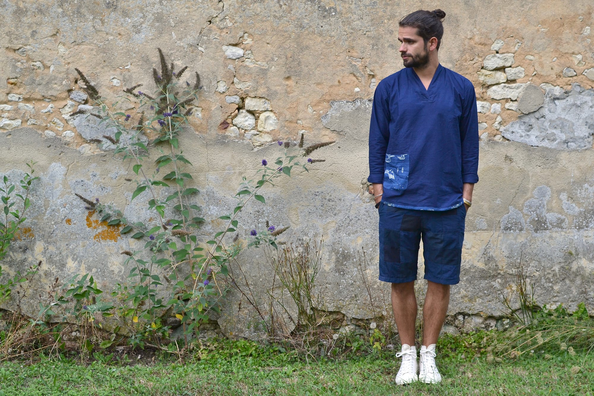 Bluesville Indigo Orient Pullover Shirt- Overlord Brand navy patchwork short - Converse CT70 all star sneakers (1)