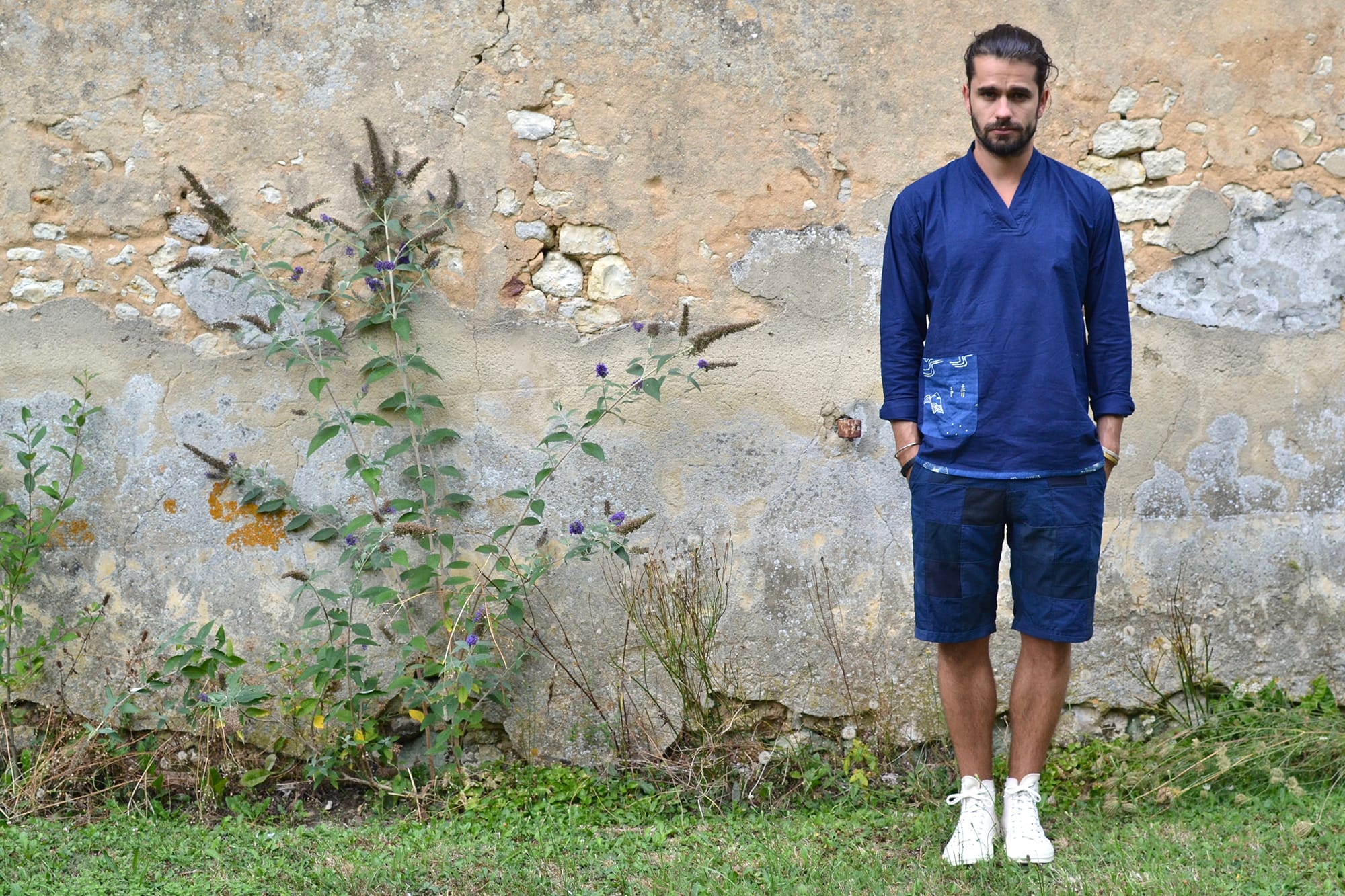Bluesville Indigo Orient Pullover Shirt- Overlord Brand navy patchwork short - Converse CT70 all star sneakers (2)
