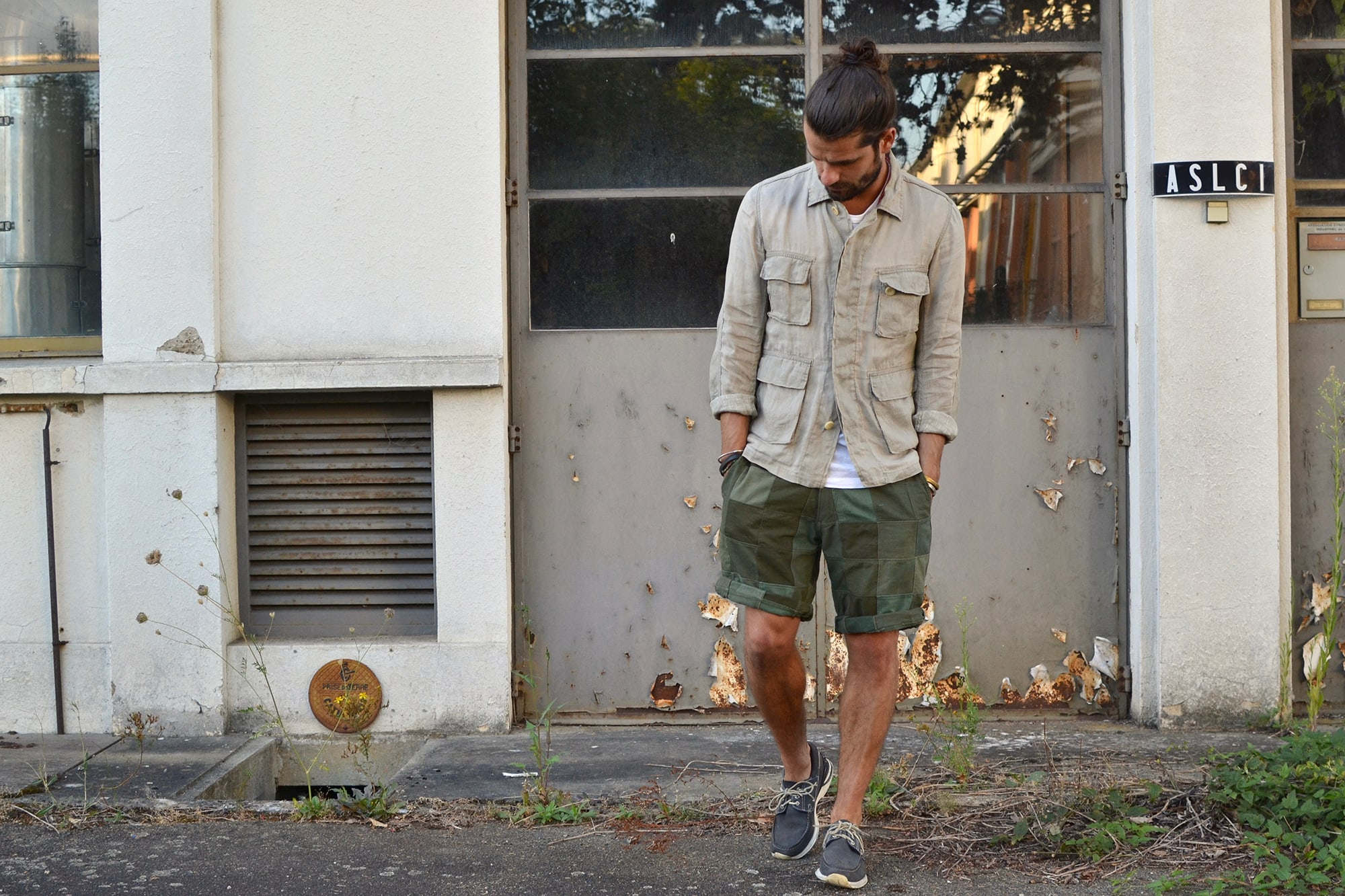 Visvim kilgore linen jacket and hockney shoes - Jinji bandana necklace - tap tee- Overlord Brand olive patchwork short - Converse CT70 all star sneakers