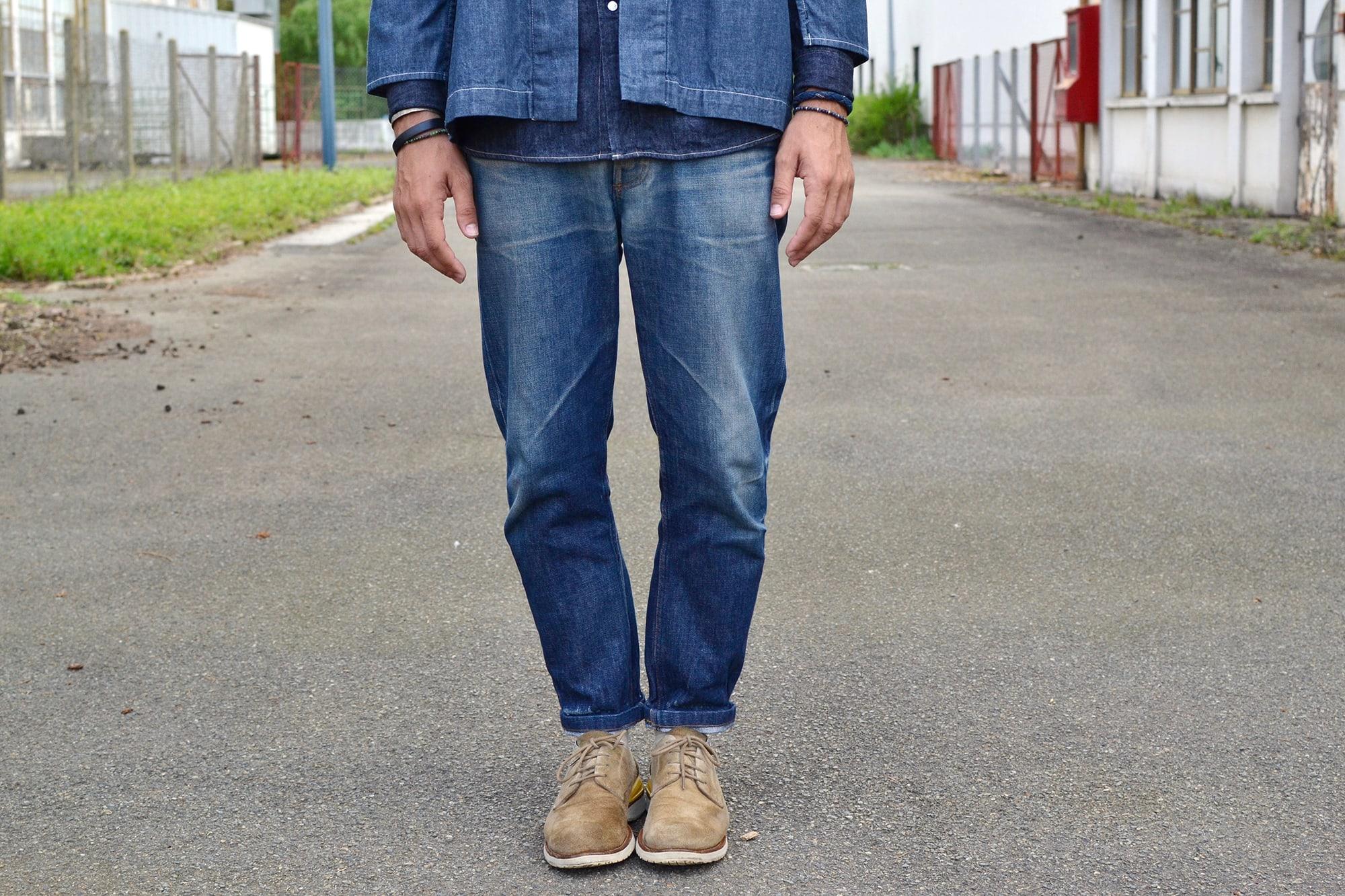 comment porter une noragi Visvim avec un layering de denim et un jeans apc tapered
