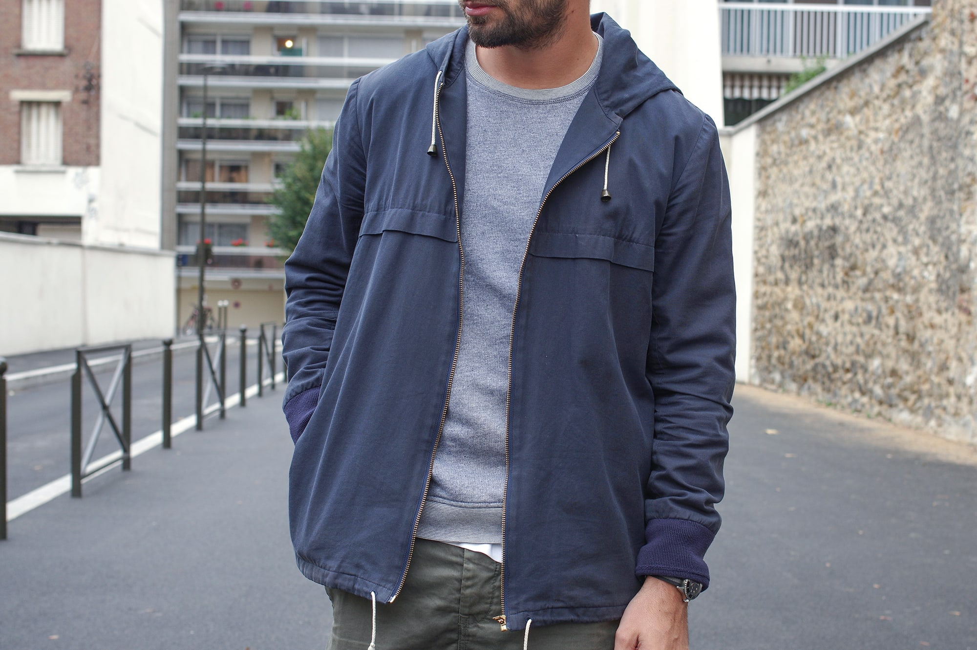 outfit with Norse Projects aros heavy chinos, apc jacket and new balance 576 sneakers