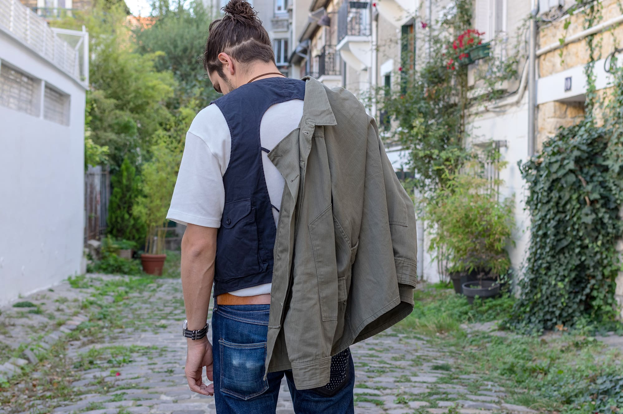 Engineered Garments BDU field jacket with a gilet inspired by C1 Ermergency Sustenance Vest and a jean from Phi denim