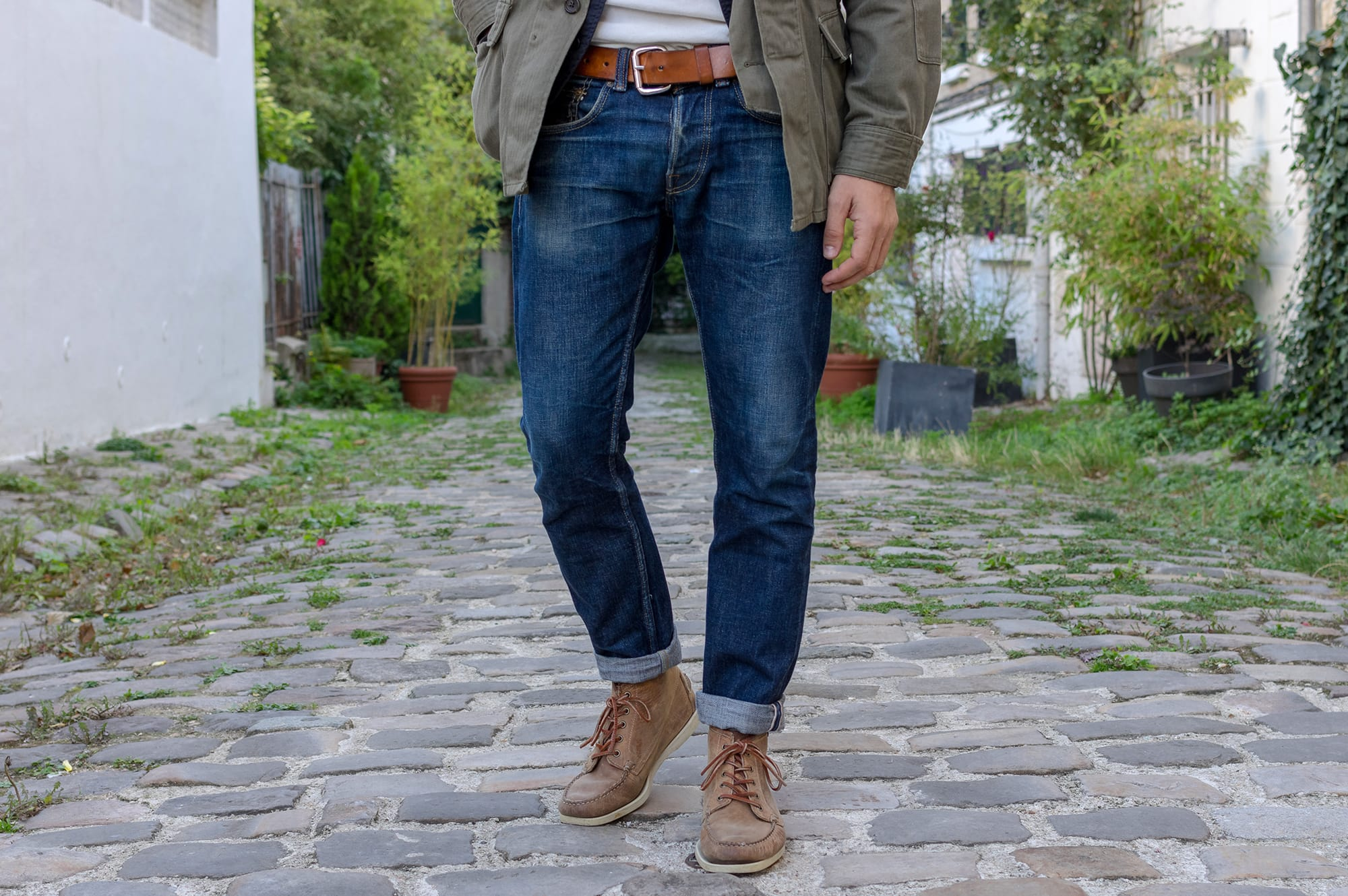 Engineered Garments BDU field jacket with a gilet inspired by C1 Ermergency Sustenance Vest and a jean from Phi denim with classic dockside boots sebago beacon