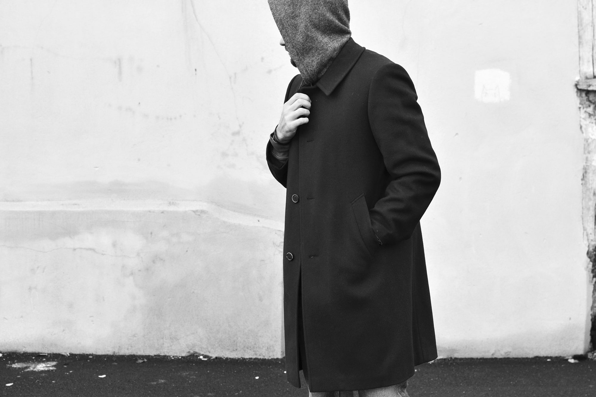 Engineered hooded interliner with a long navy wool coat