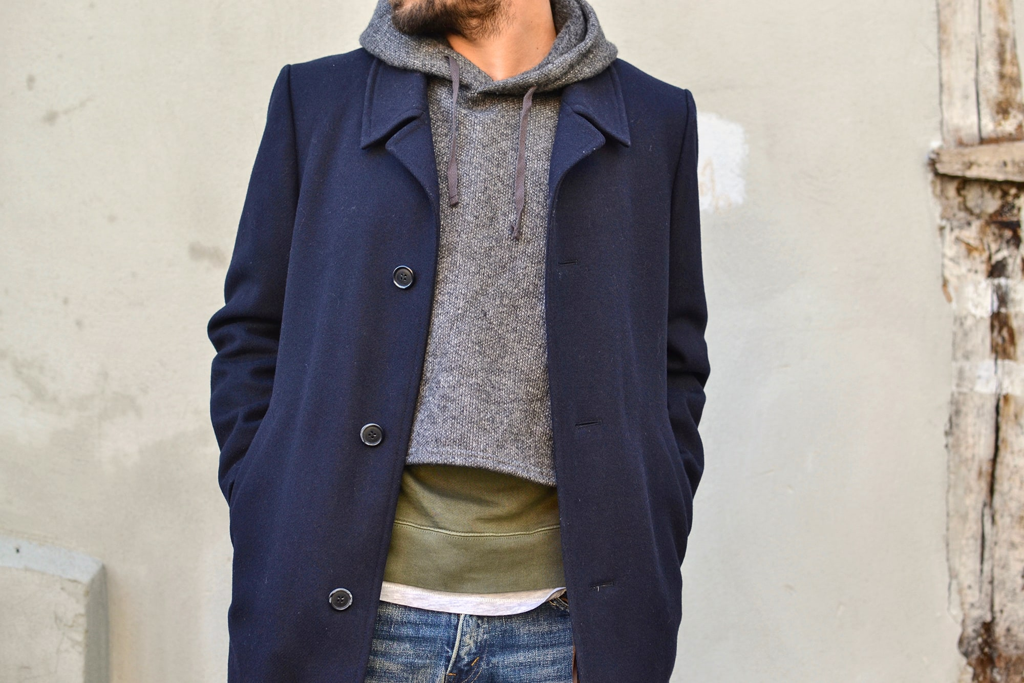 comment porter un manteau long avec du leayering et un interliner Engineered Garments
