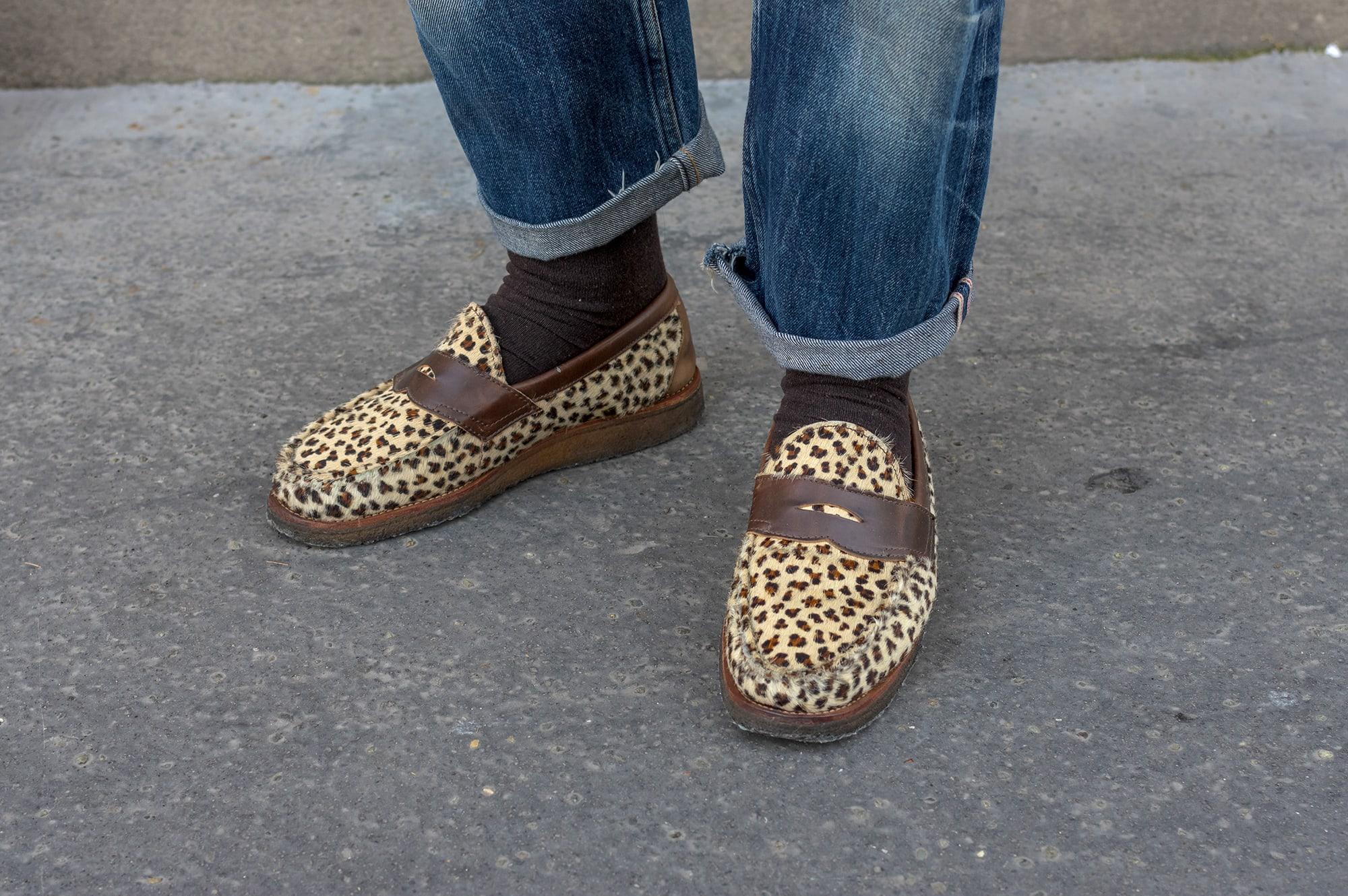 yuketen penny loafers leo print hairy poney