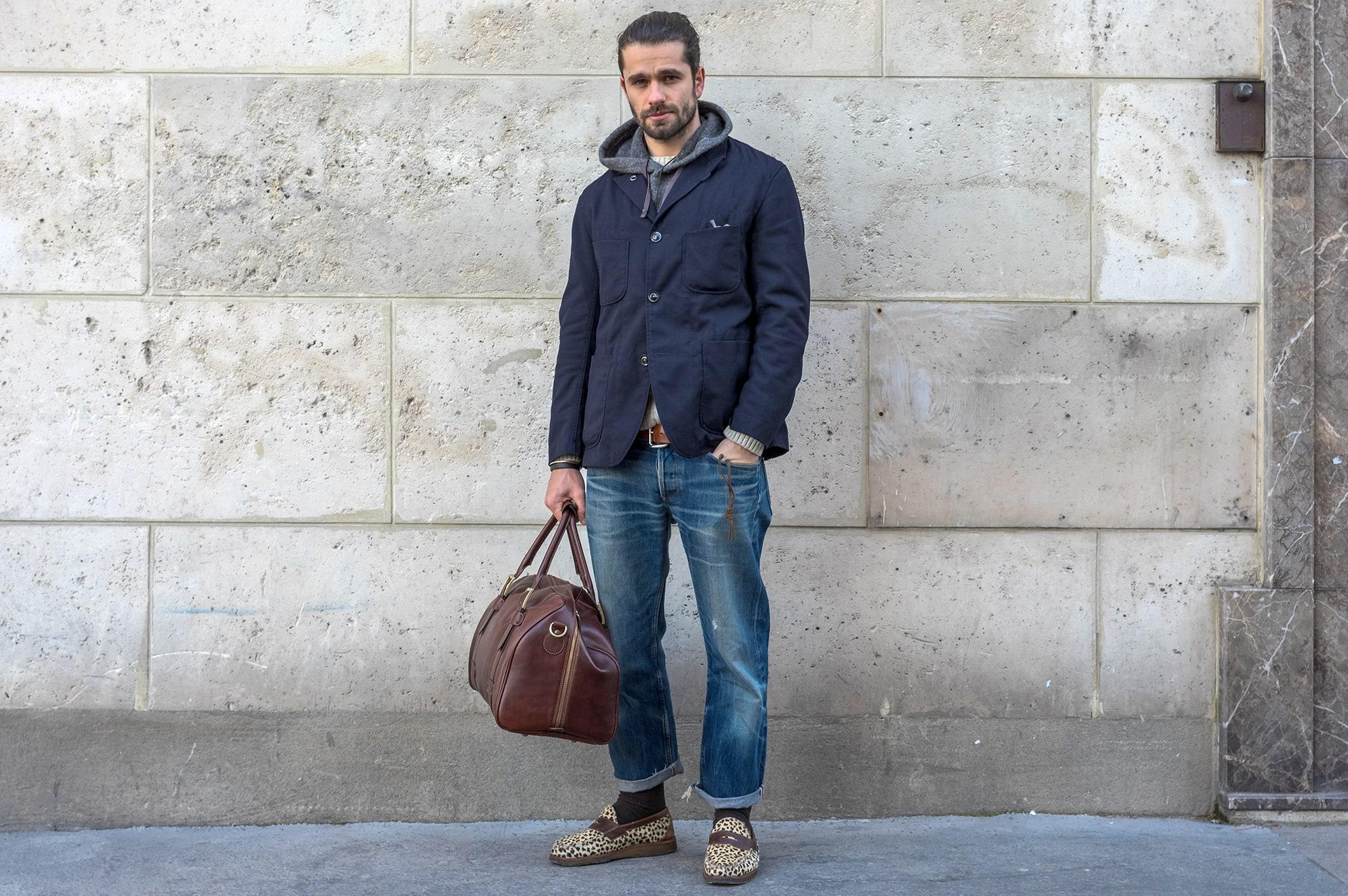 blog mode homme street heritage workwear - Engineered garments bedford jacket @ hooded interliner - Edwin knit - Frères de voyage- APC jeans - Yuketen leopard penny loafer