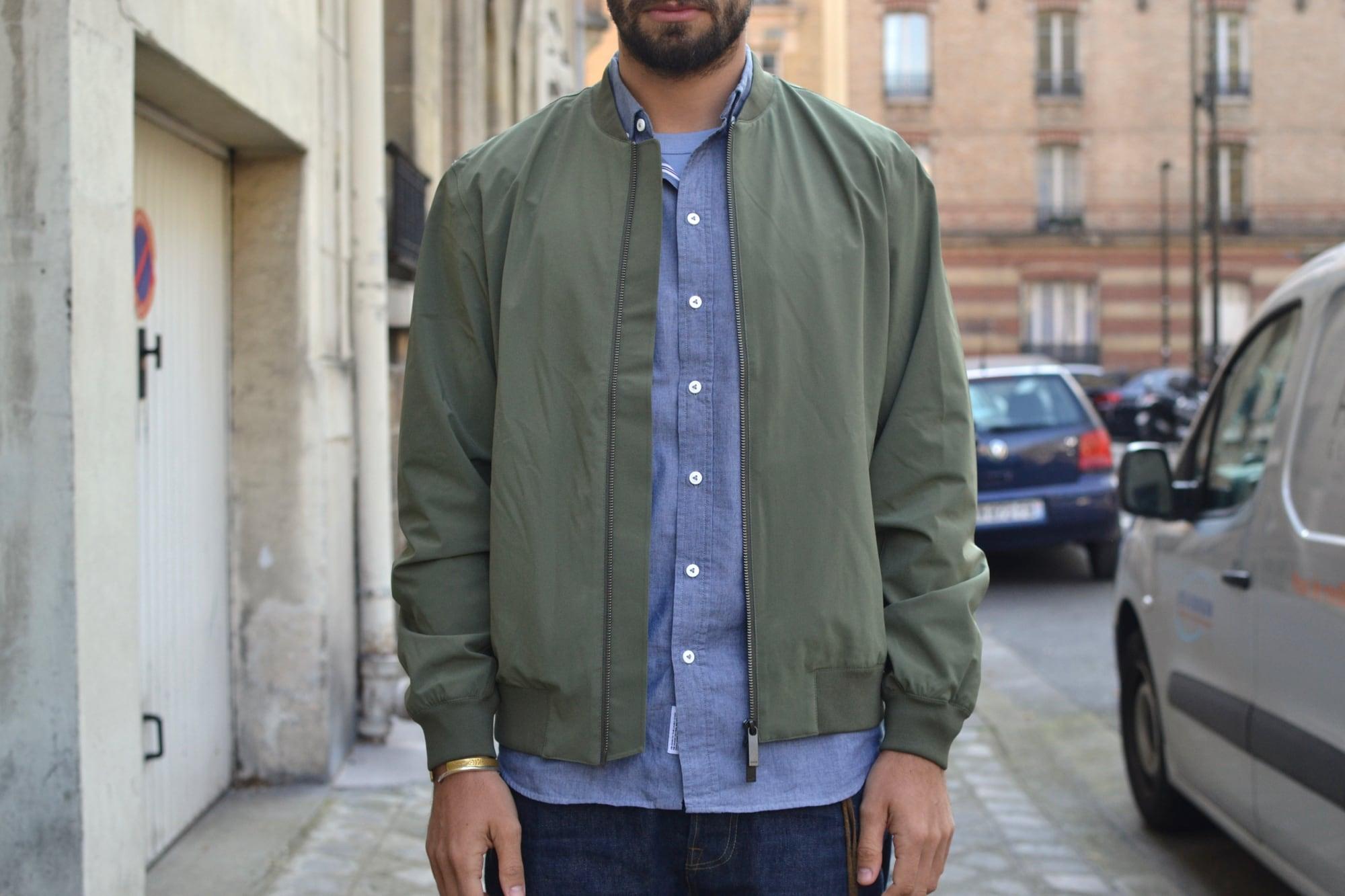 comment porter une chemise chambray tenue entre casual chic et street heritage avec une touche techwear aevc ce bomber kai NN07