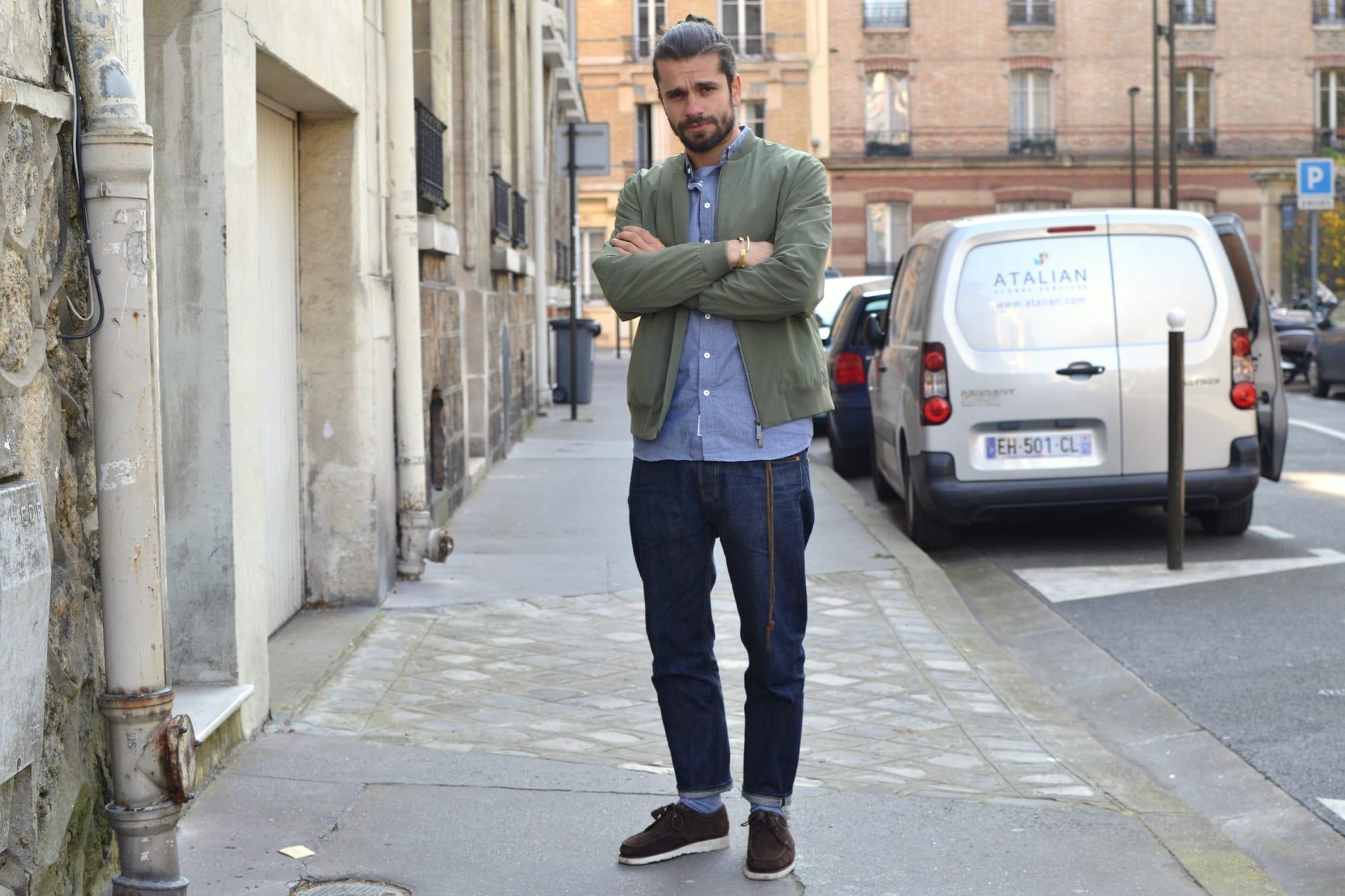 une tenue entre casual chic et street heritage avec une touche techwear aevc ce bomber kai NN07