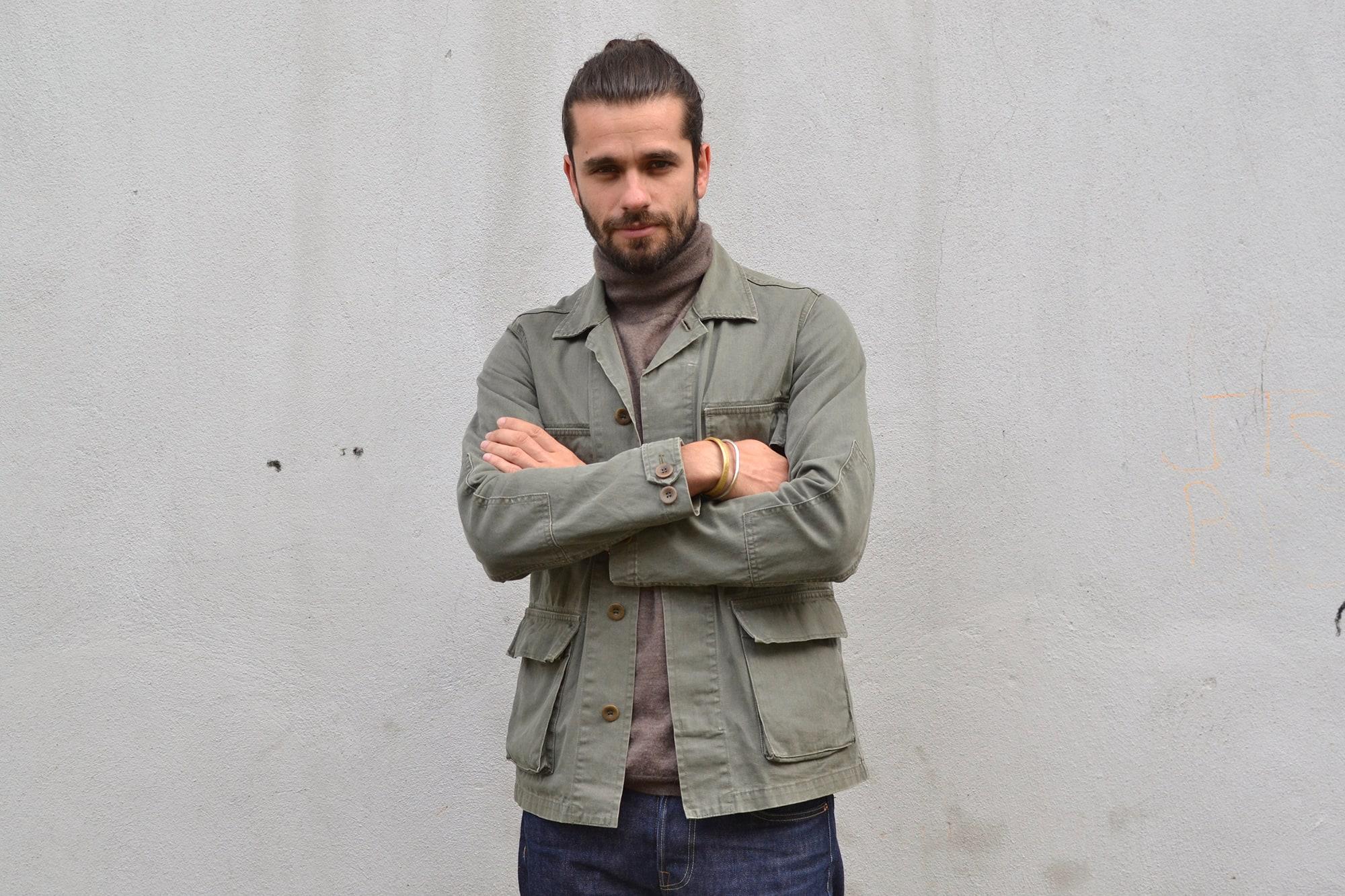 Visvim kilgore olive jacket col roulé eric bompard cachemir jeans Phi denim raw brut modèle iki ceinture sympa bonnard ferragamo Salvatore commando shoes