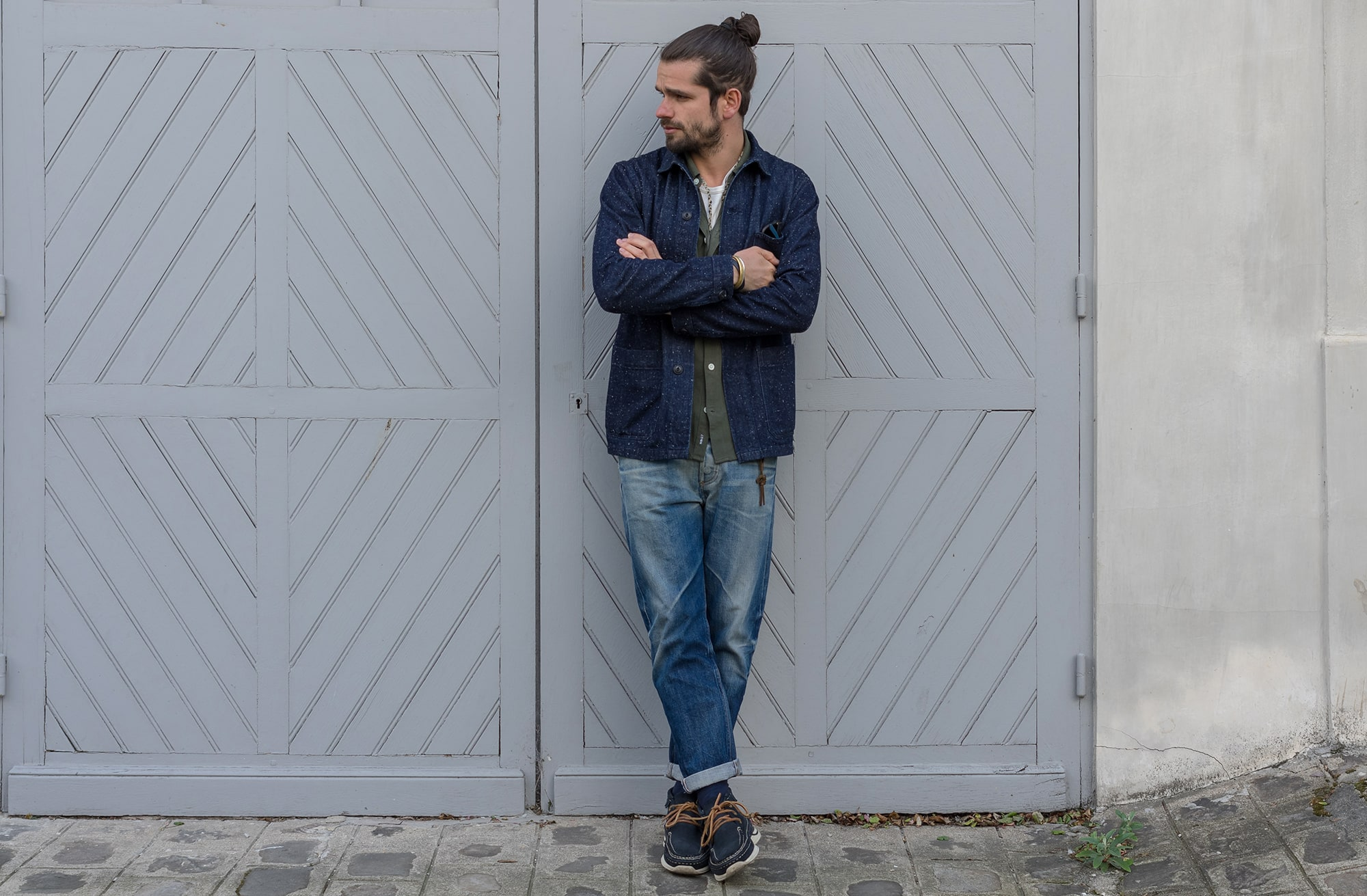 blog mode street heritage homme - Bonne gueule neppy veste -NN07 exclusif frenchtrotters alberto shirt - Borali necklace - maison cornichon tee - visvim voyager moc kicks