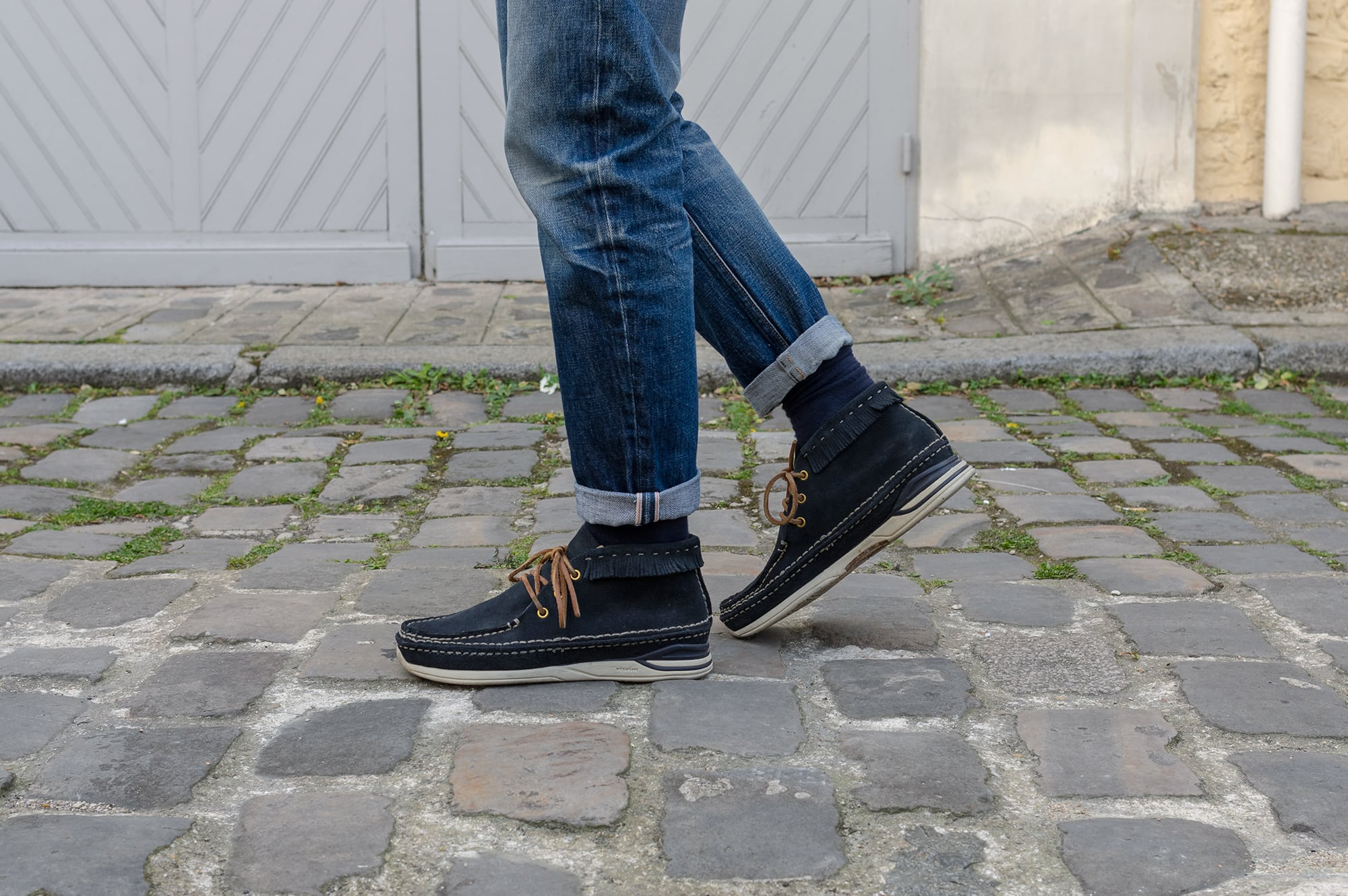 APC rescue jeans customized and tapered by Boras of borasification blog and wearing visvim voyager moc folk