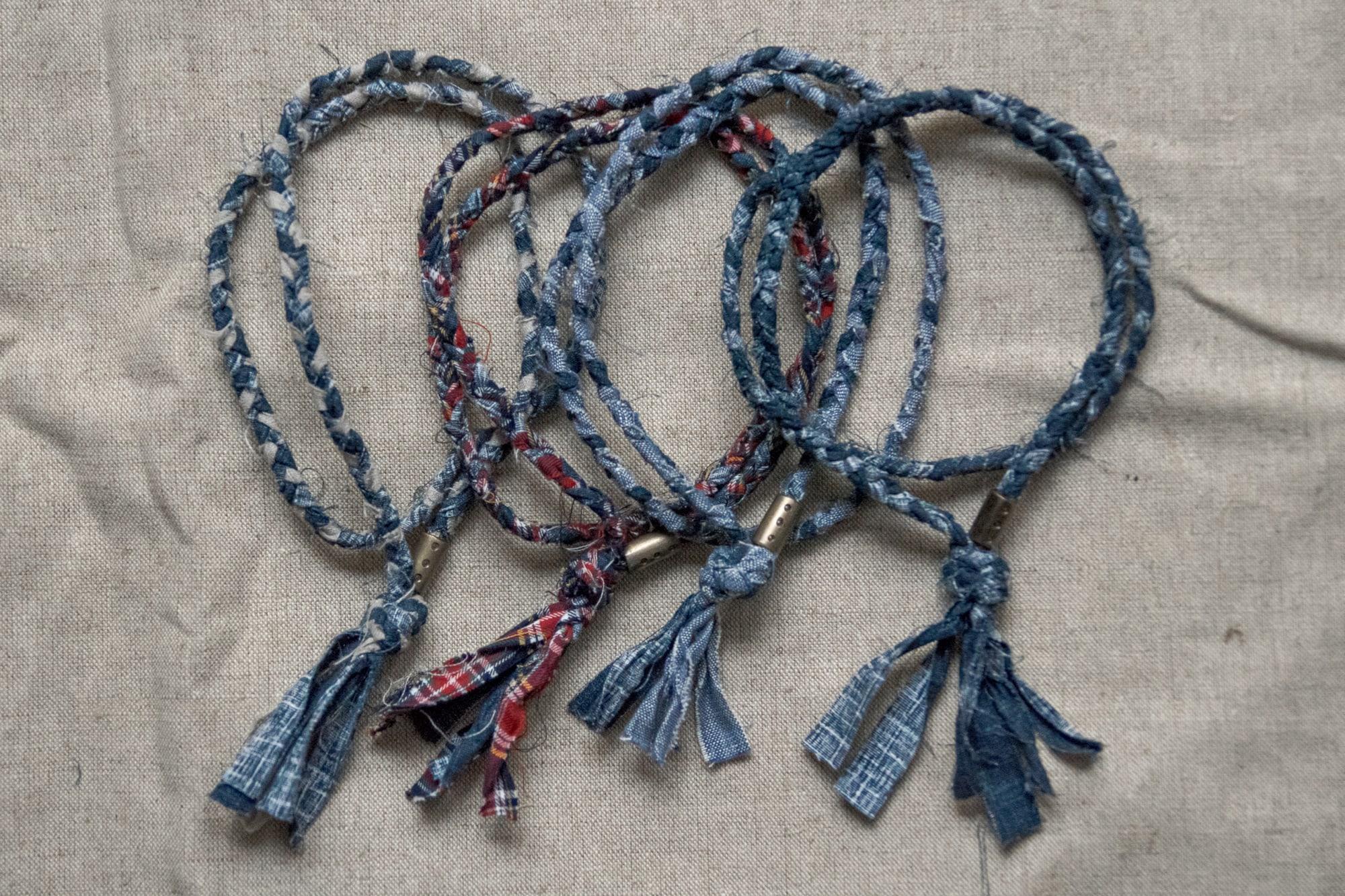 collier borali en tissus recyclés et tressé à la main en france - and-made necklace made in france - drop 2