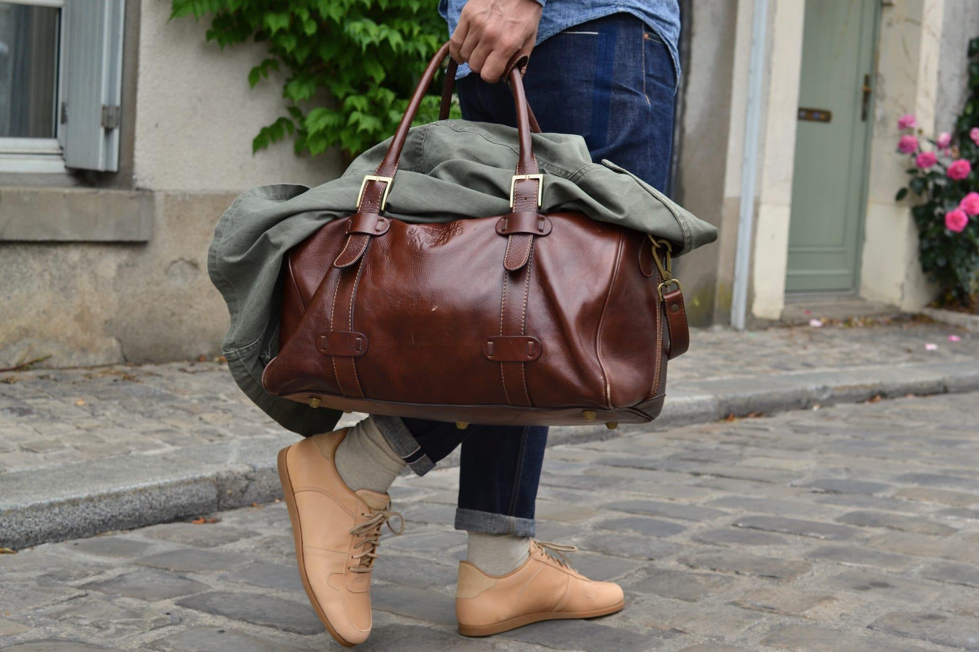 sac de weekend bag 24h 48H en cuir pour homme Frères de Voyages