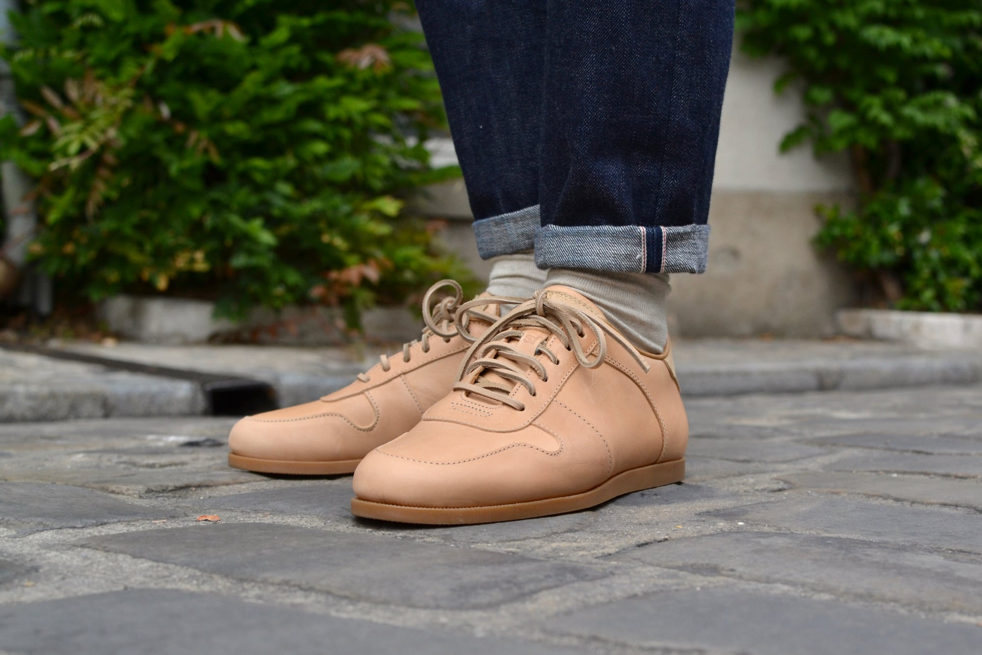 Standard Fair natural leather shoes model sport camp made in USA Maine shoes sneakers en cuir naturel et à potentiel de patine