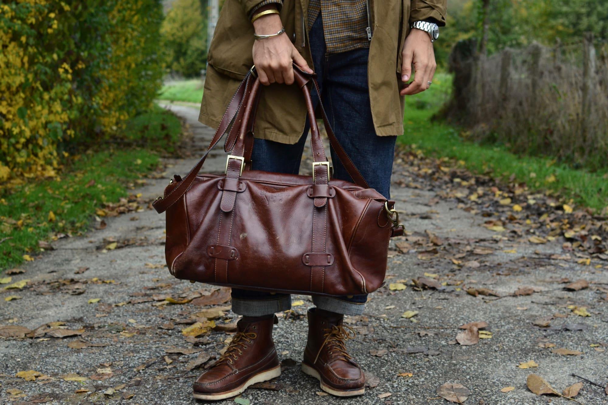 Sac de voyage 48h weekend weekender en cuir italien made in taly leather Frères de Voyagesheritage bag