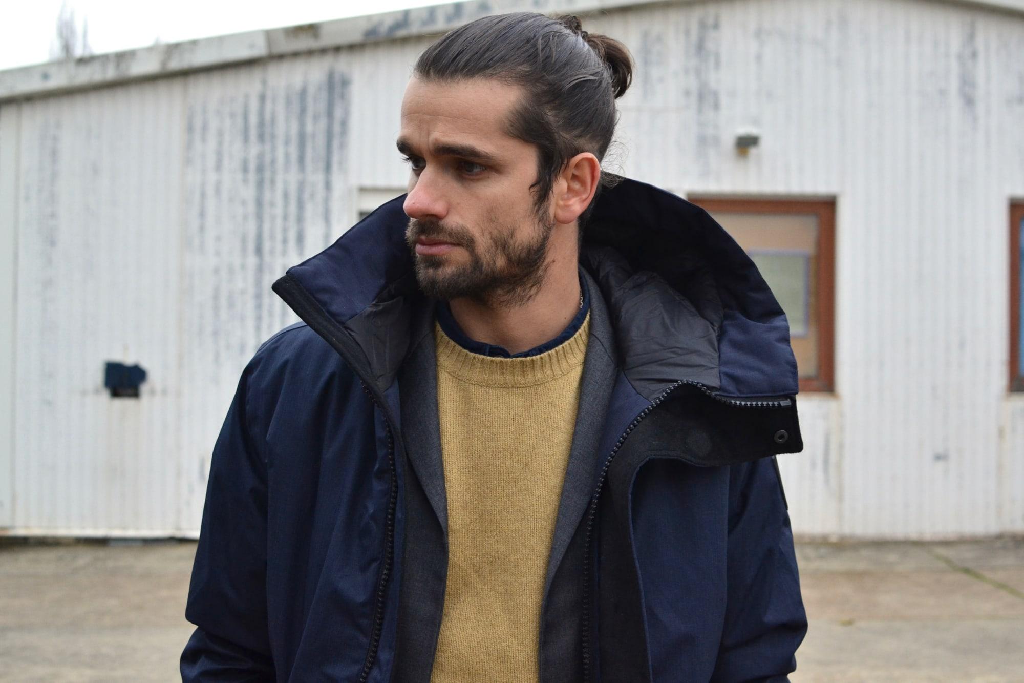 idée de style avec la parka Nobis modèle Pierre et pull lafaurie paris en shetland made in itlay
