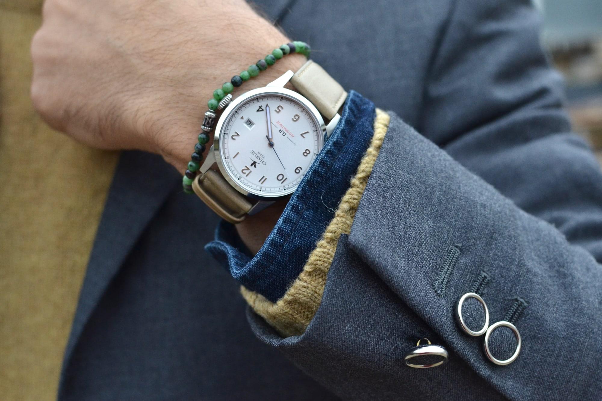 montre automatique GR charlie paris faite en france made in France minimaliste et élégante à porter dans une tenue style casual chic idée cadeau