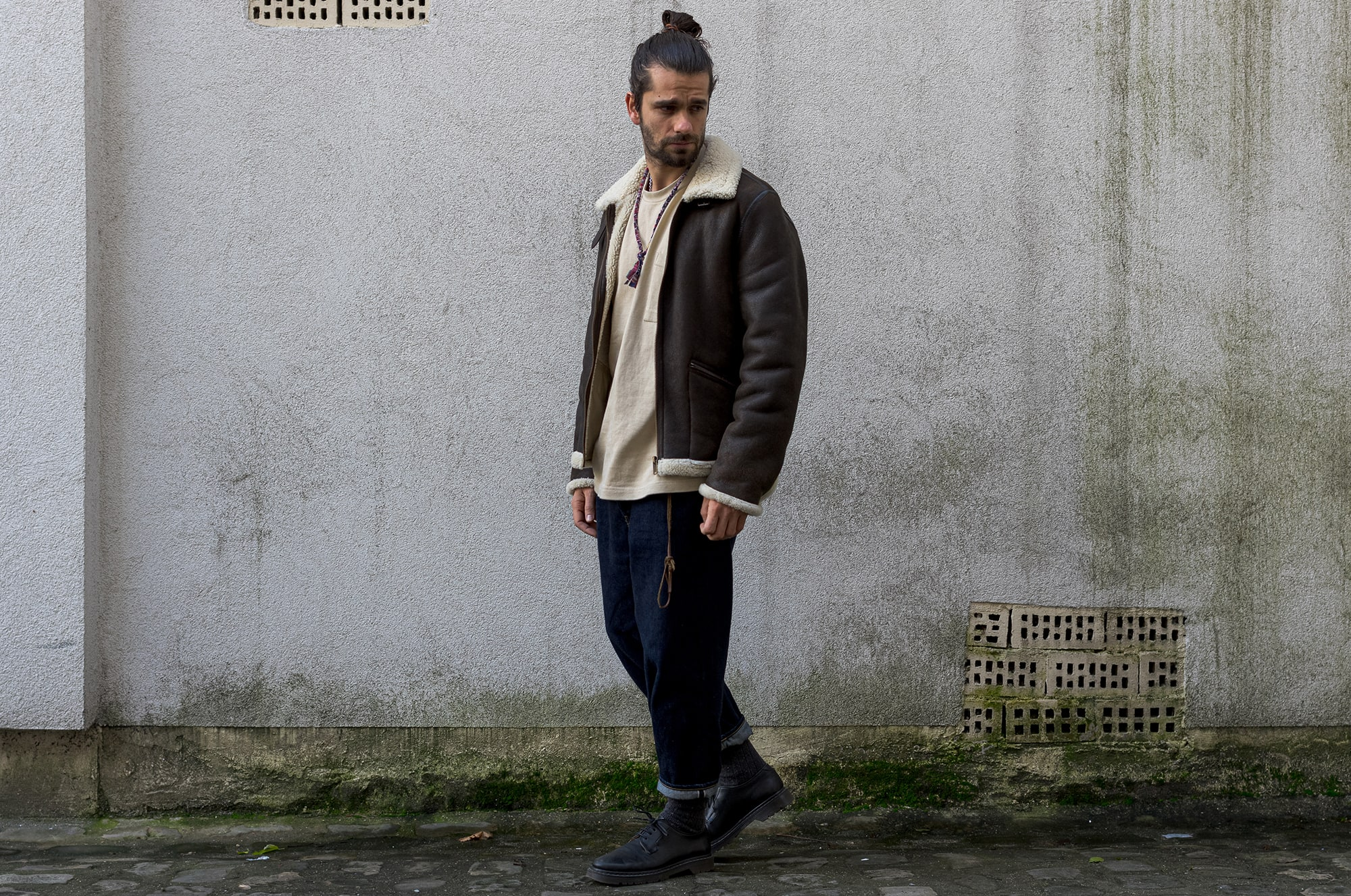 A.P.C x Louis W shearling - Realm & Empire tee - Hatski denim - A.P.C shoes - Borali necklace