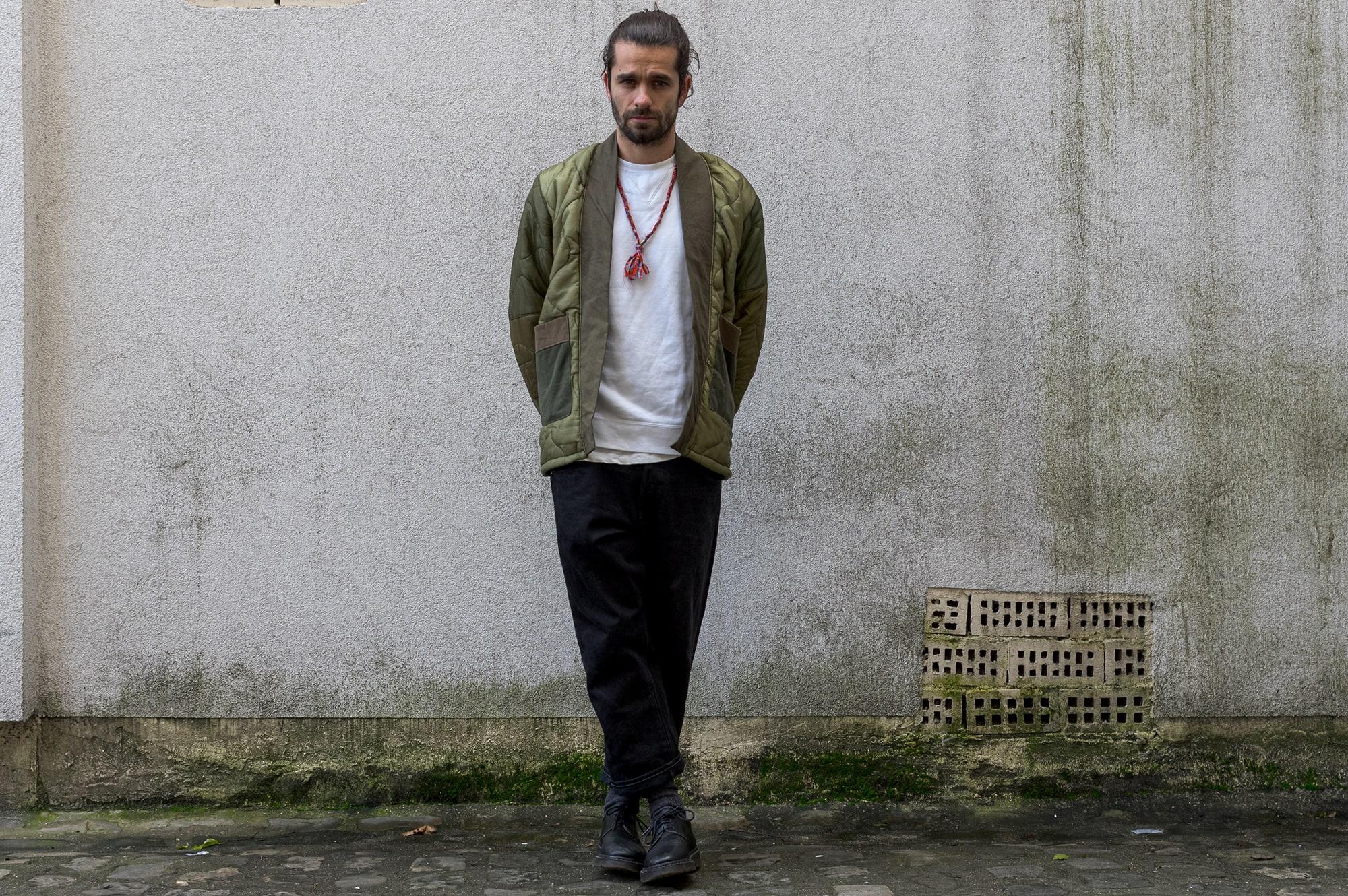 Overlord brand Noragi - Visvim sweater & denim - A.P.C shoes - Borali necklace