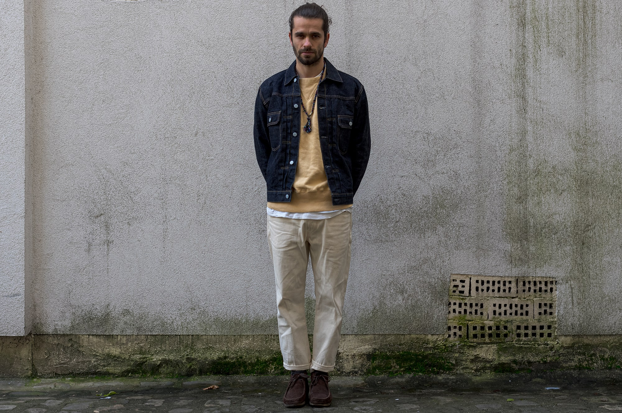 Suit & Supply trucker jacket - Levi's Vintage Clothing sweater - Edwin jeans - Clarks Wallabee shoes - Borali necklace