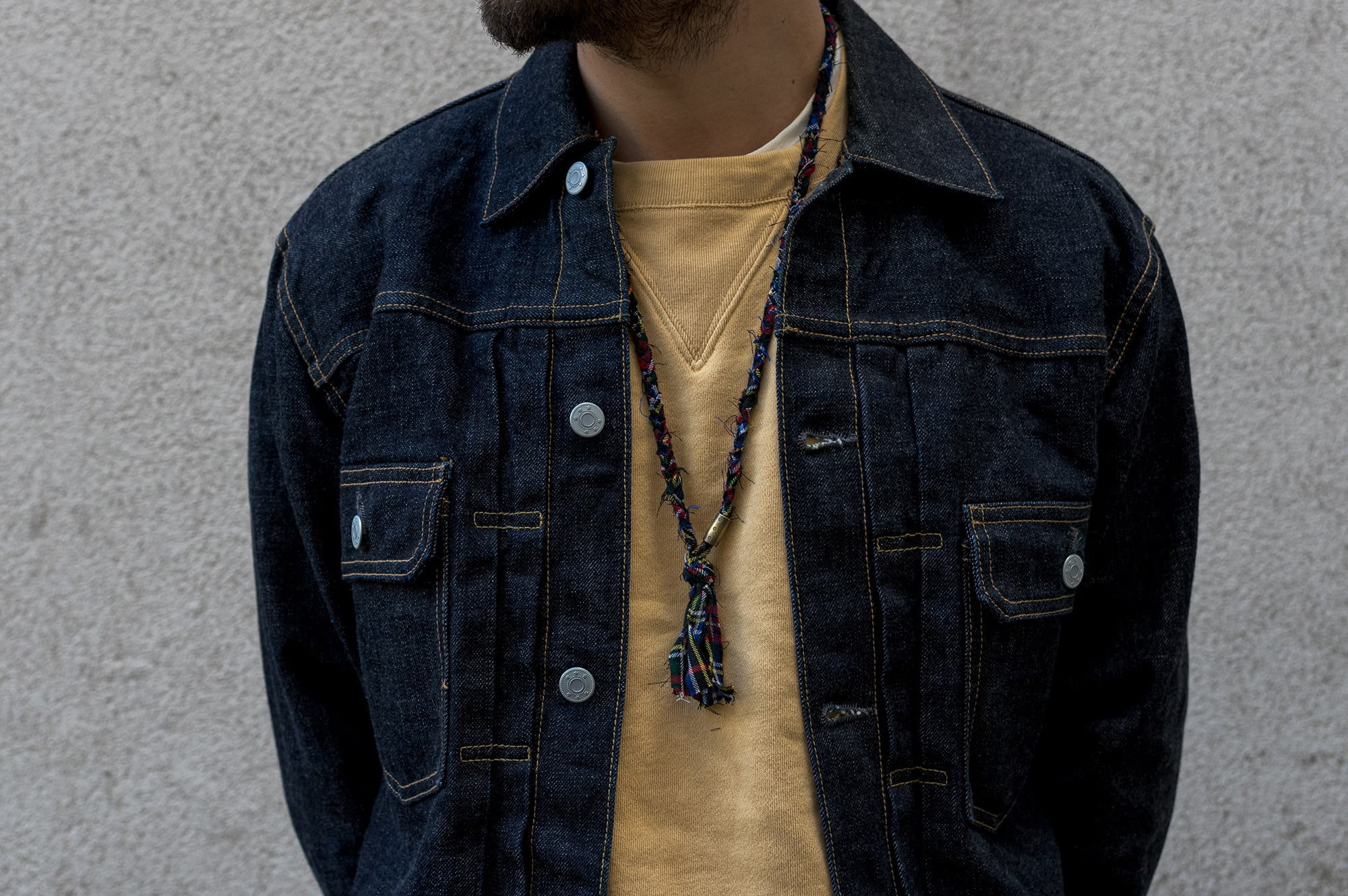 suit sypply raw selvedge trucker denim jacket type-1 / vest en jean brute et collier Borali