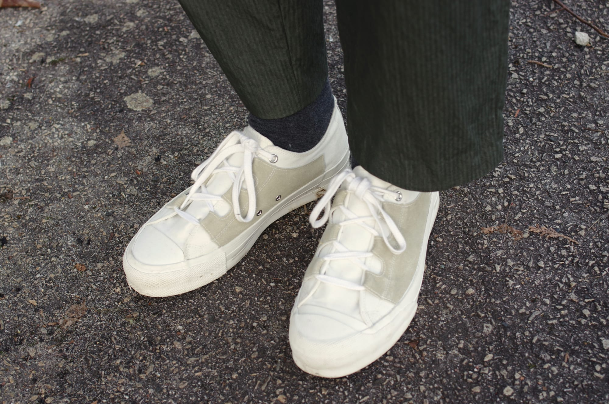 classic needles asymmetric ghillie sneakers with kestin hare wick pants how to size and wear canvas shoes