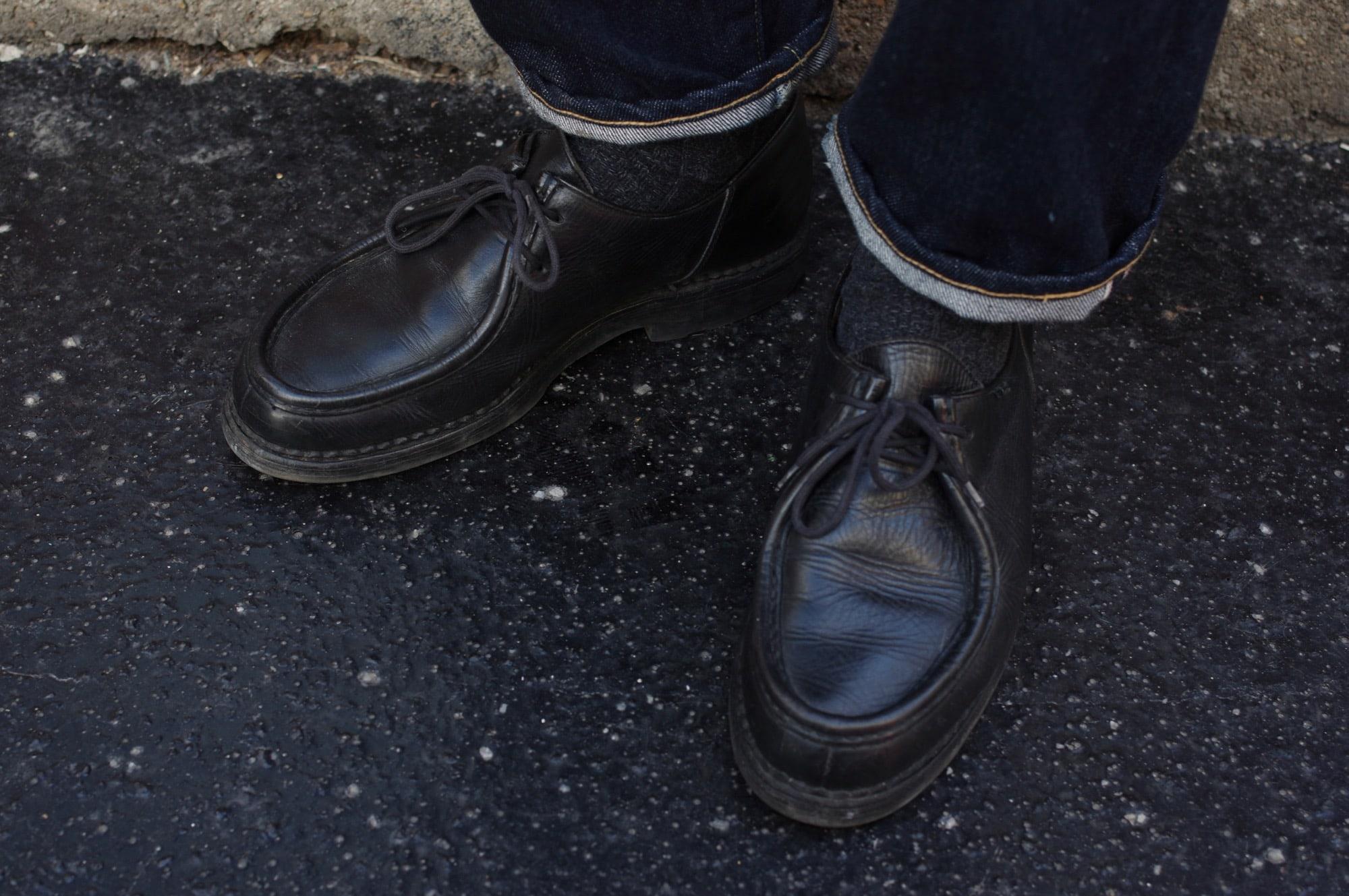 idée look homme avec Paraboot modèle michael en cuir noir dans une tenue street heritage - conseil mode