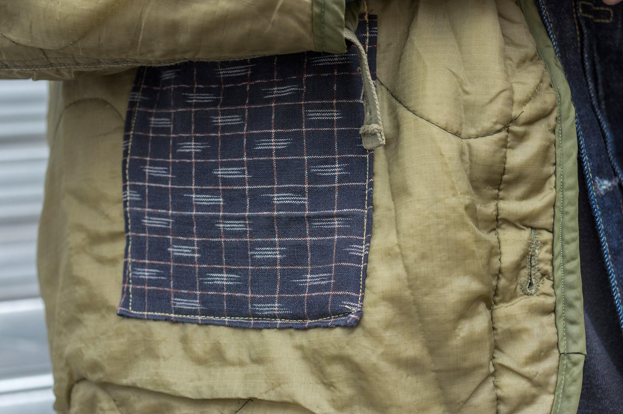 vintage m65 liner with patchwork boro et couture sashiko, technique japonaise pour rapiecer vêtement usé