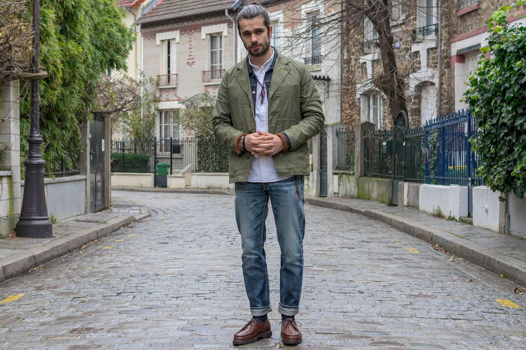 comment porter un jean semi slim dans un style workwear street heritage