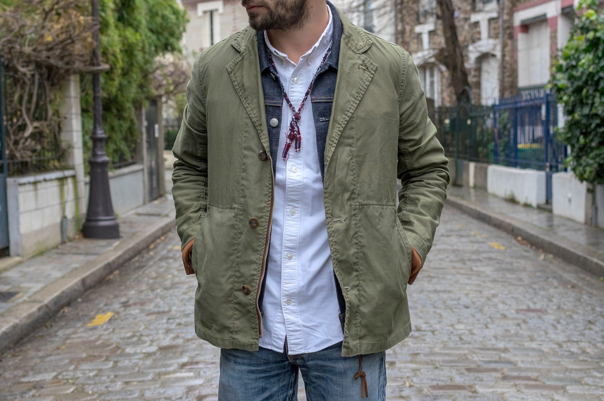 comment faire du layering dans une tenue homme ajusté mais workwear Borali collier visvim