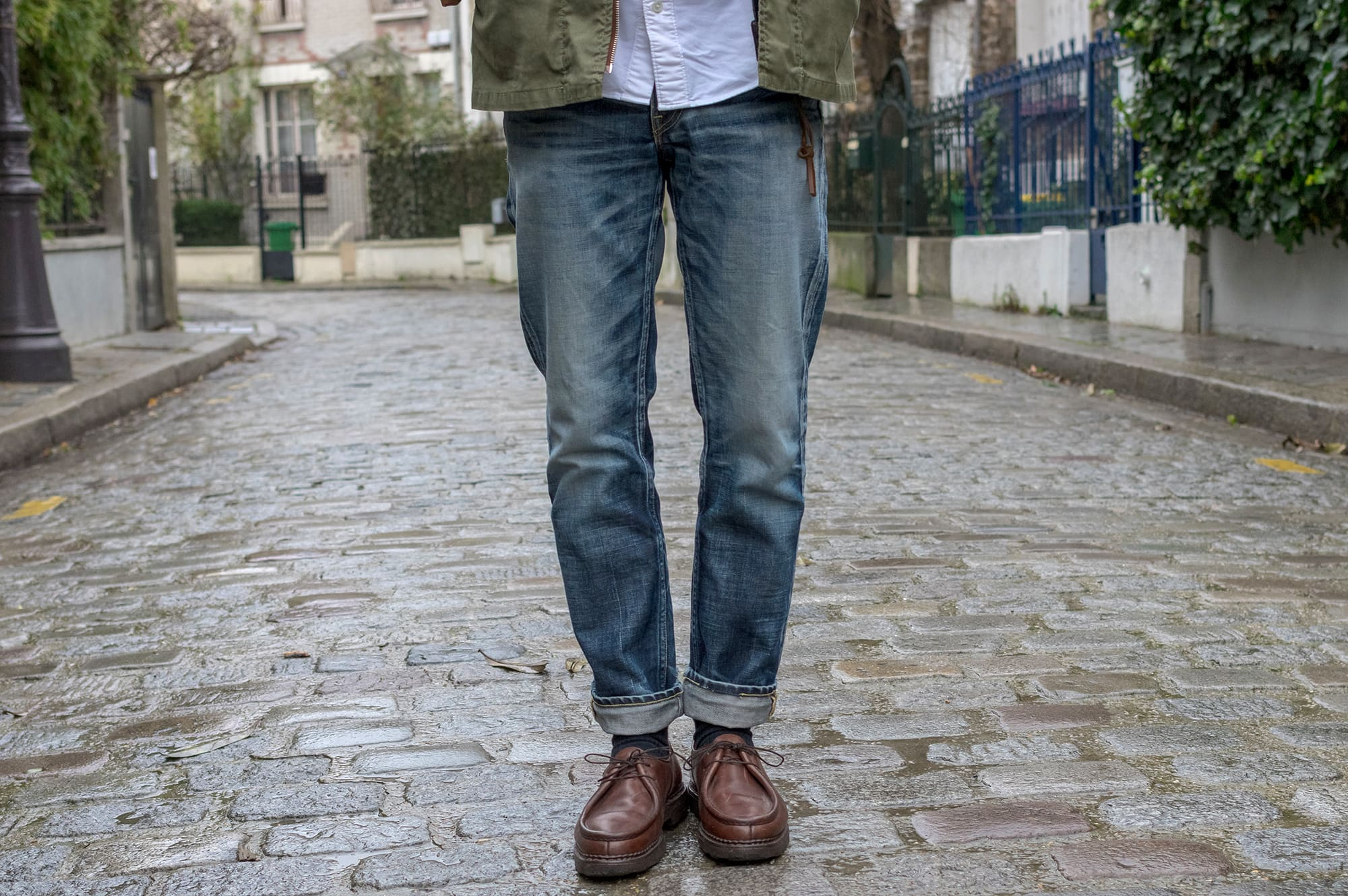 comment porter jean semi slim visvim fluxus denim 03 NW python patch + paraboot boot michael