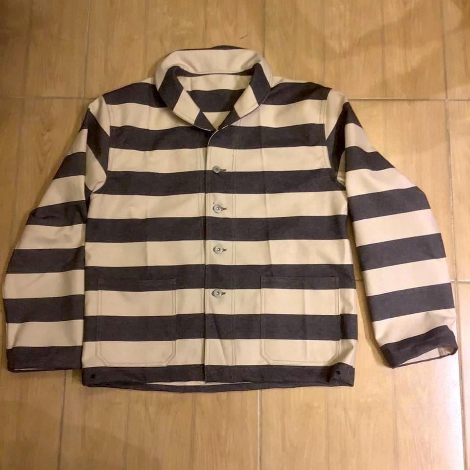 work jacket shawl colar us navt stripes pattern arashi denim