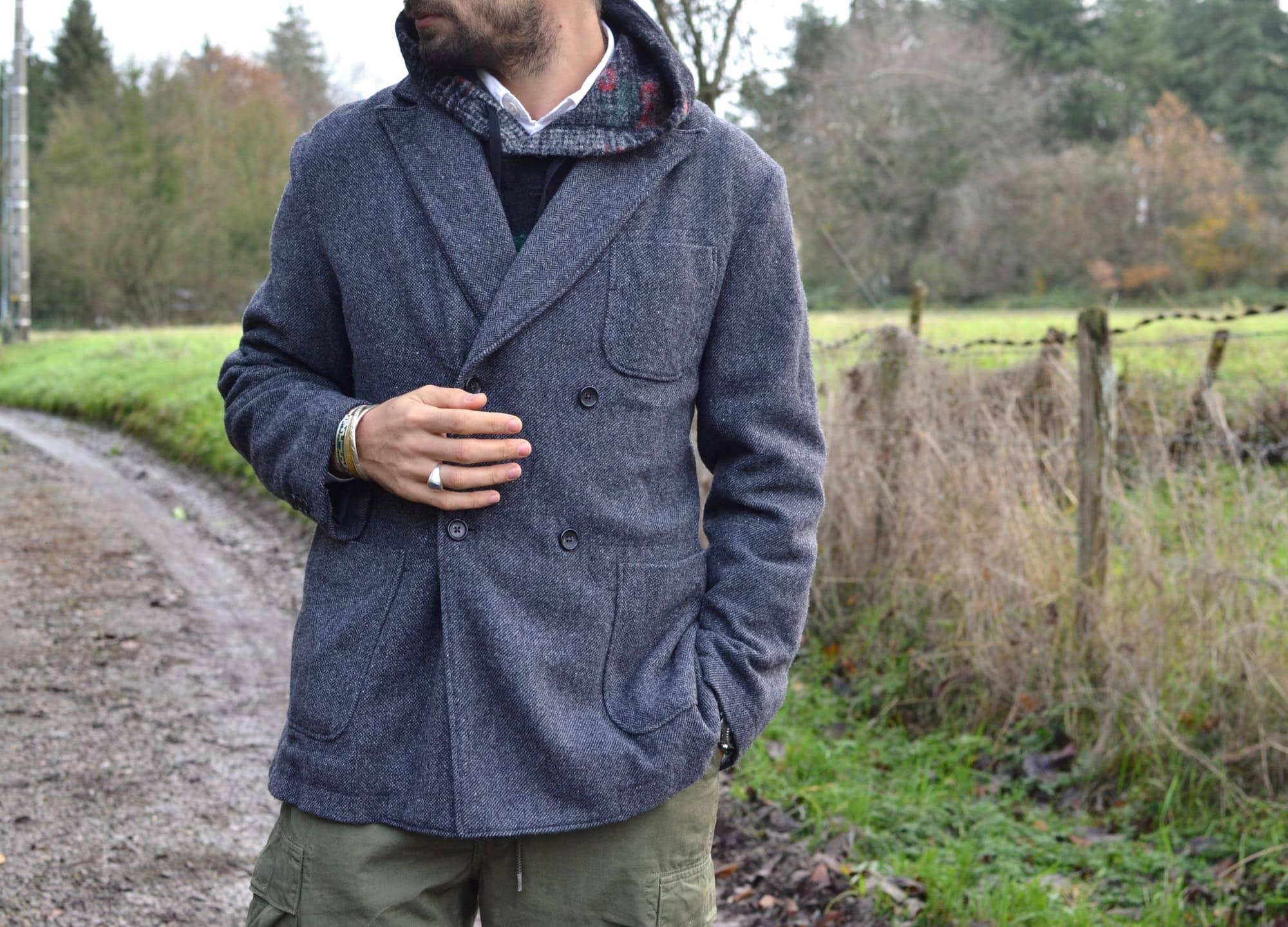 engineered garments double breasted dexter jacket wool herringbone - comment porter une veste croisée à chevrons dans un style homme workwear
