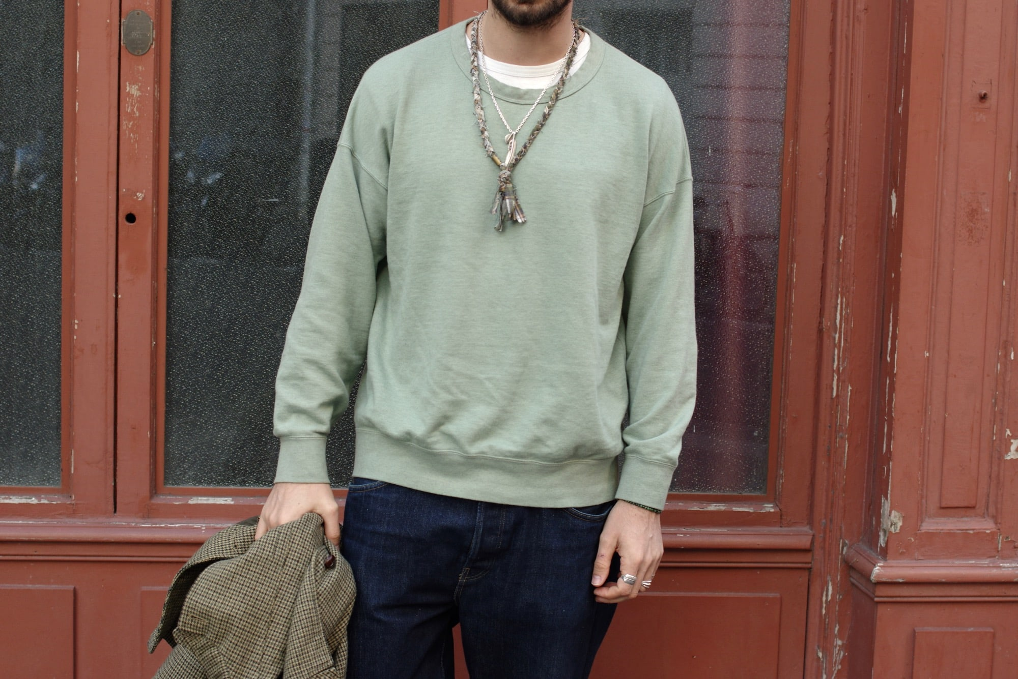 Visvim jumbo crew sweater fadded olive un sweat boxy pour des look homme street heritage